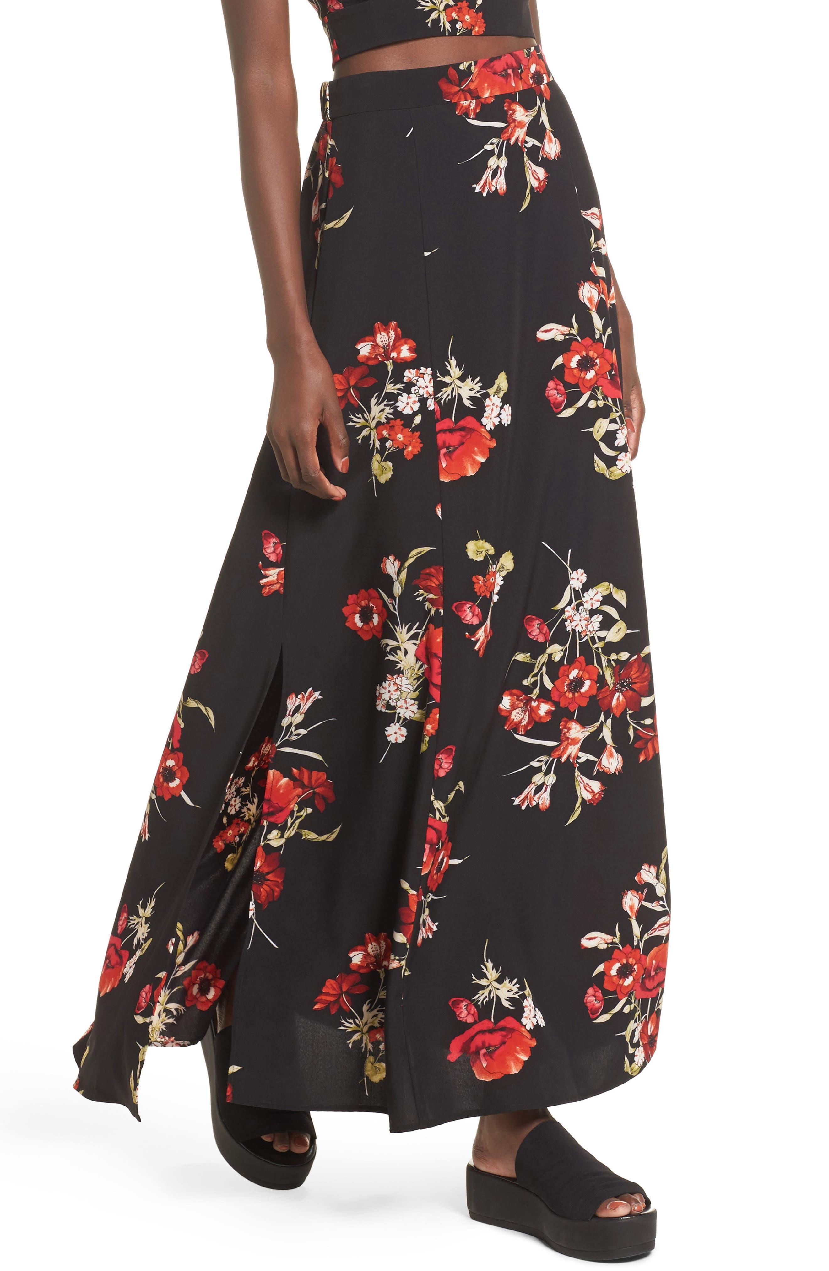 Maxi Skirt,                         Main,                         color, Black Floral
