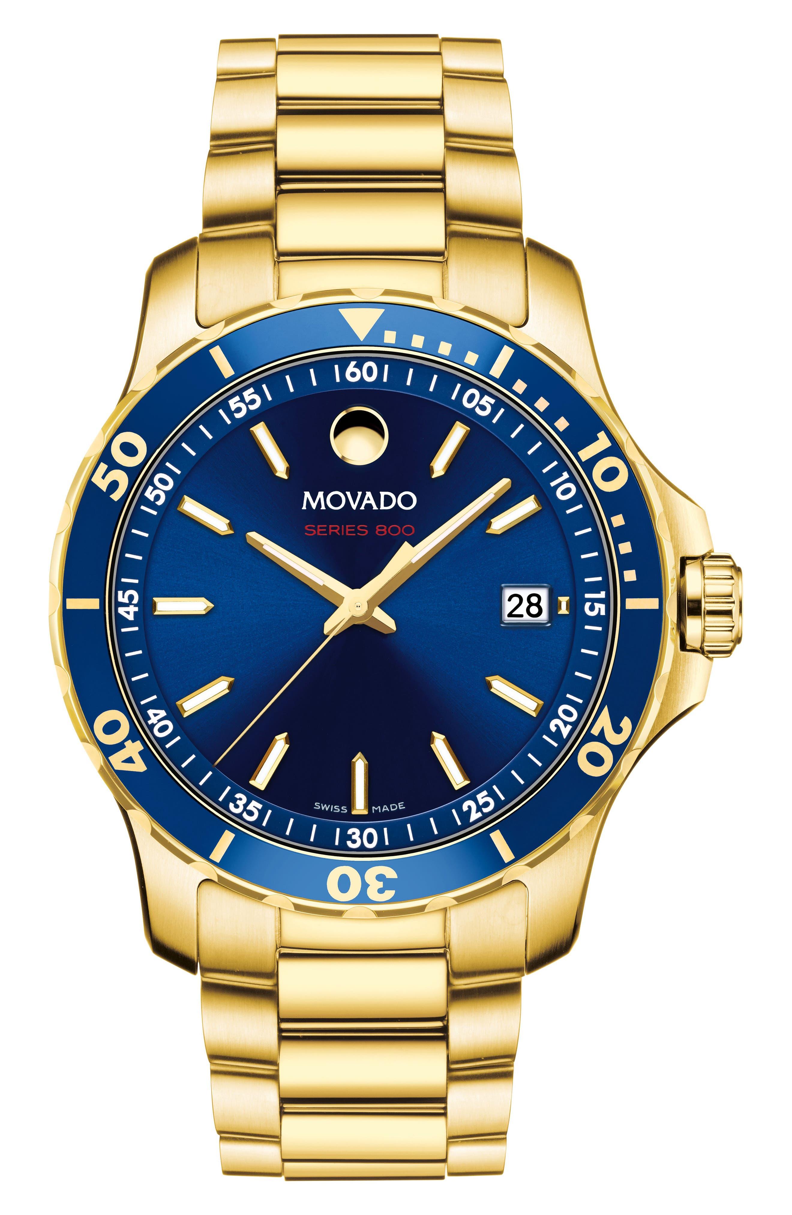 Series 800 Bracelet Watch, 40mm,                         Main,                         color, Gold/ Blue/ Gold