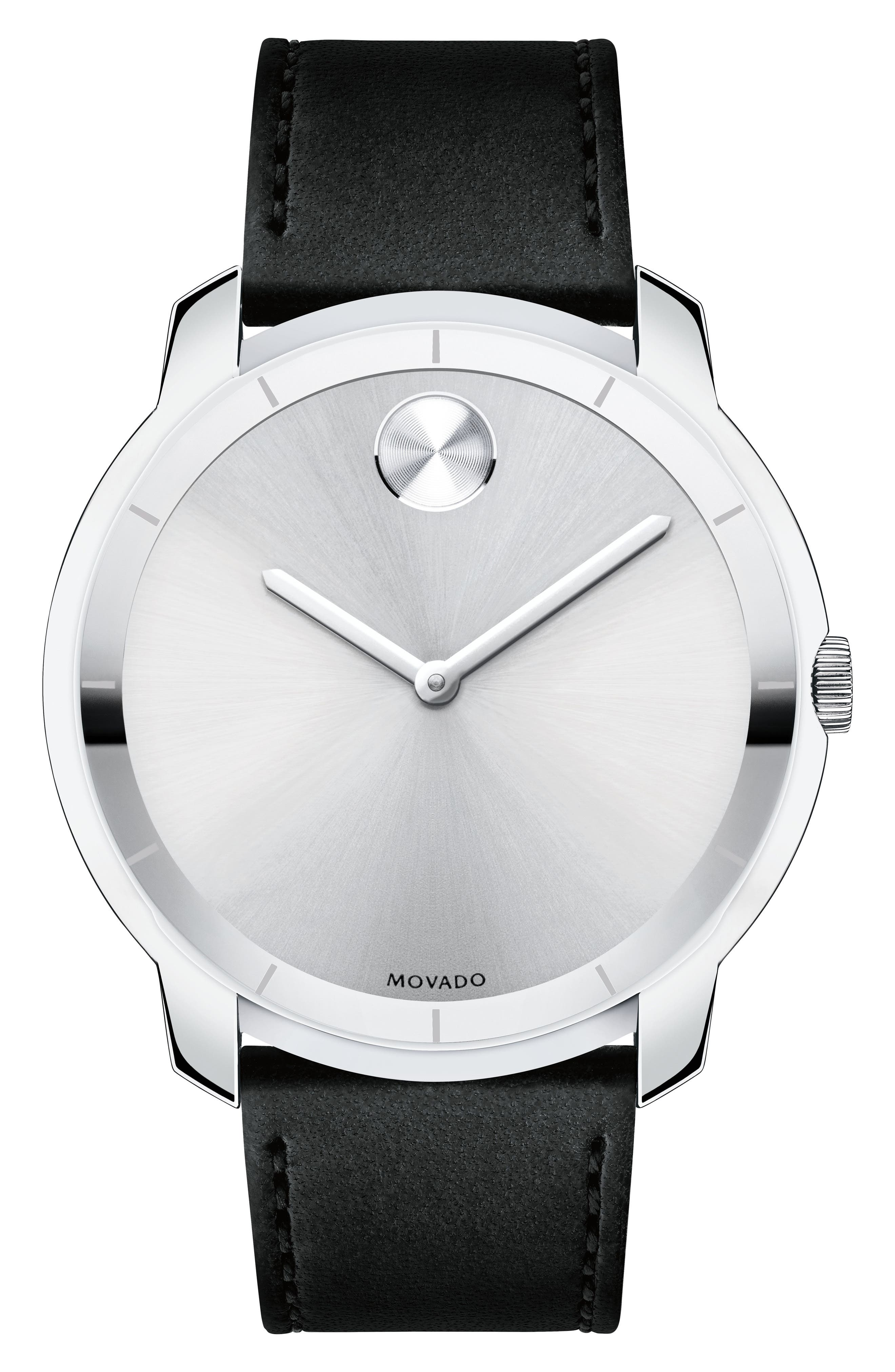 Bold Thin Leather Strap Watch, 44mm,                         Main,                         color, Black/ Silver