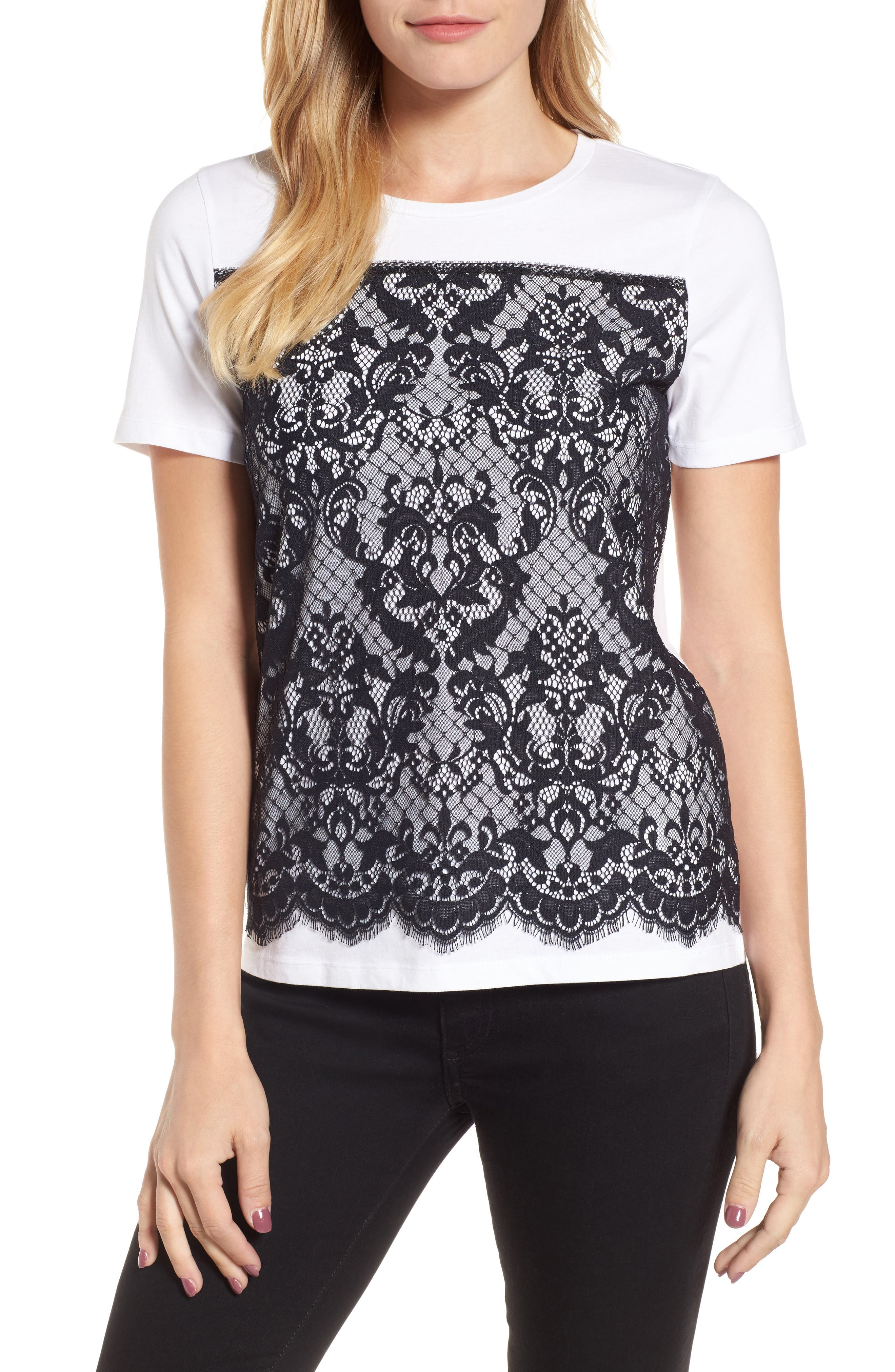 Lace Panel Tee,                         Main,                         color, Willow White