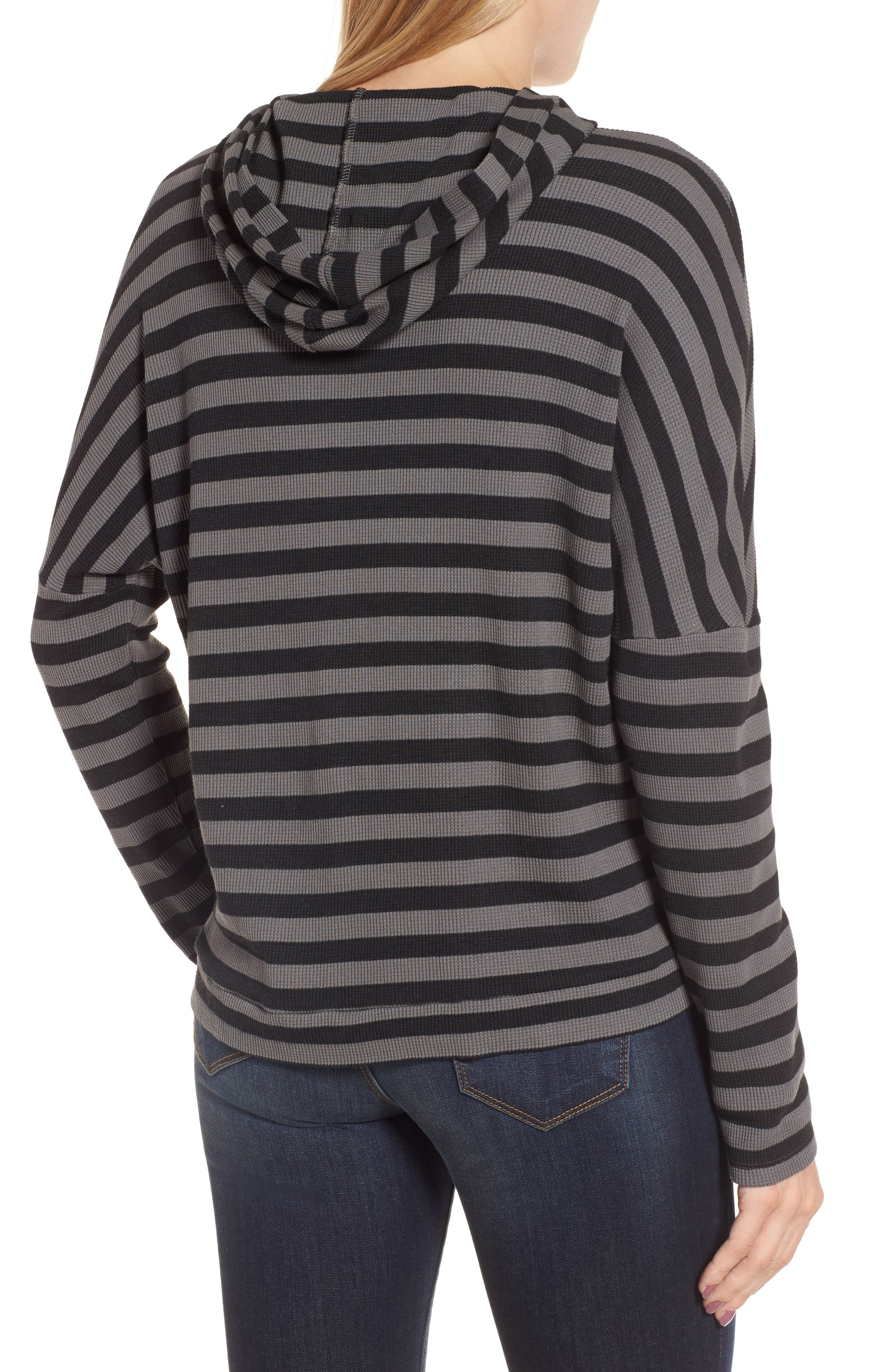 Stripe Thermal Hoodie,                             Alternate thumbnail 2, color,                             Charcoal