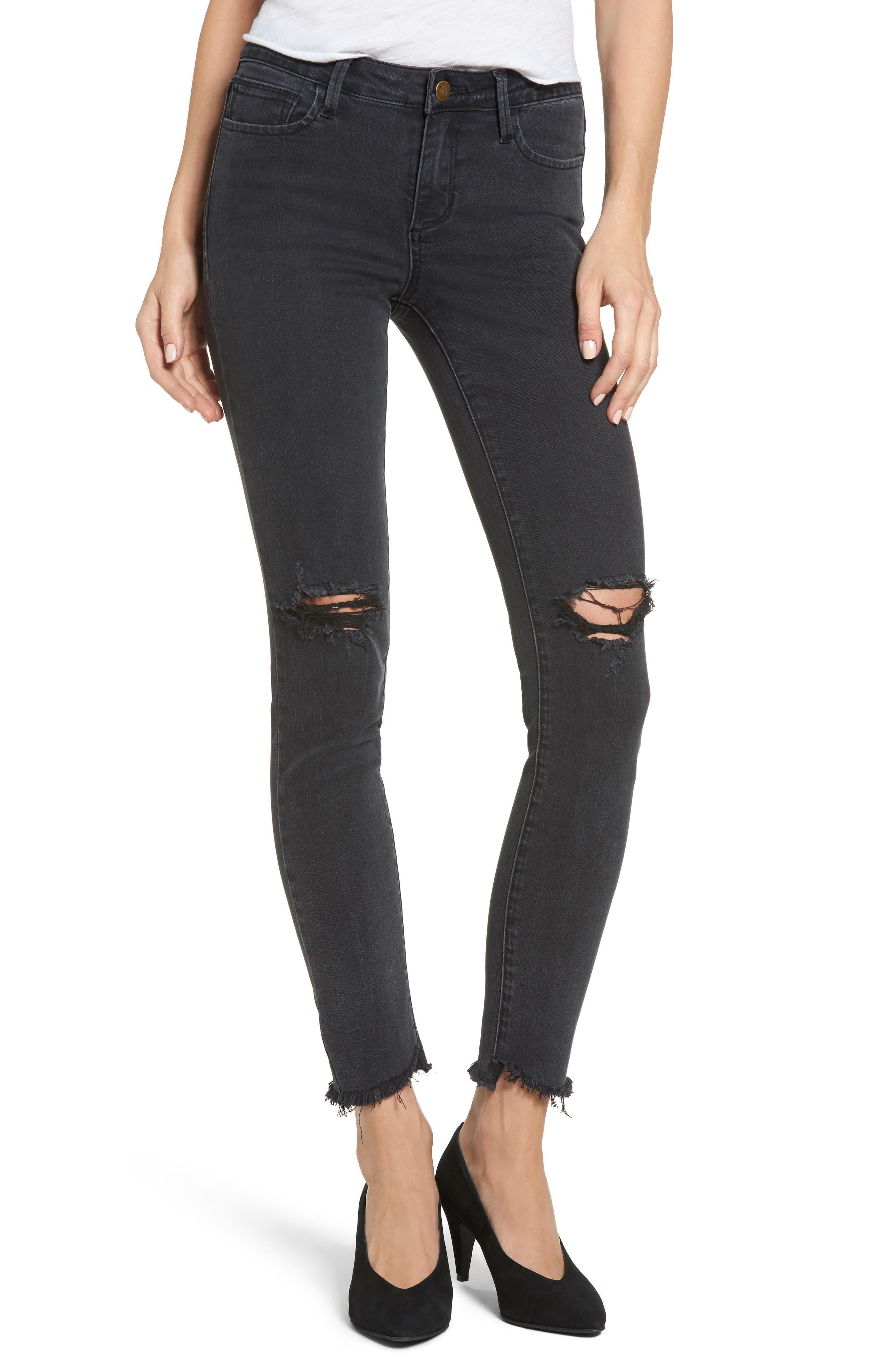 Main Image - EVIDNT Tate Distressed Skinny Jeans (Blacktop)