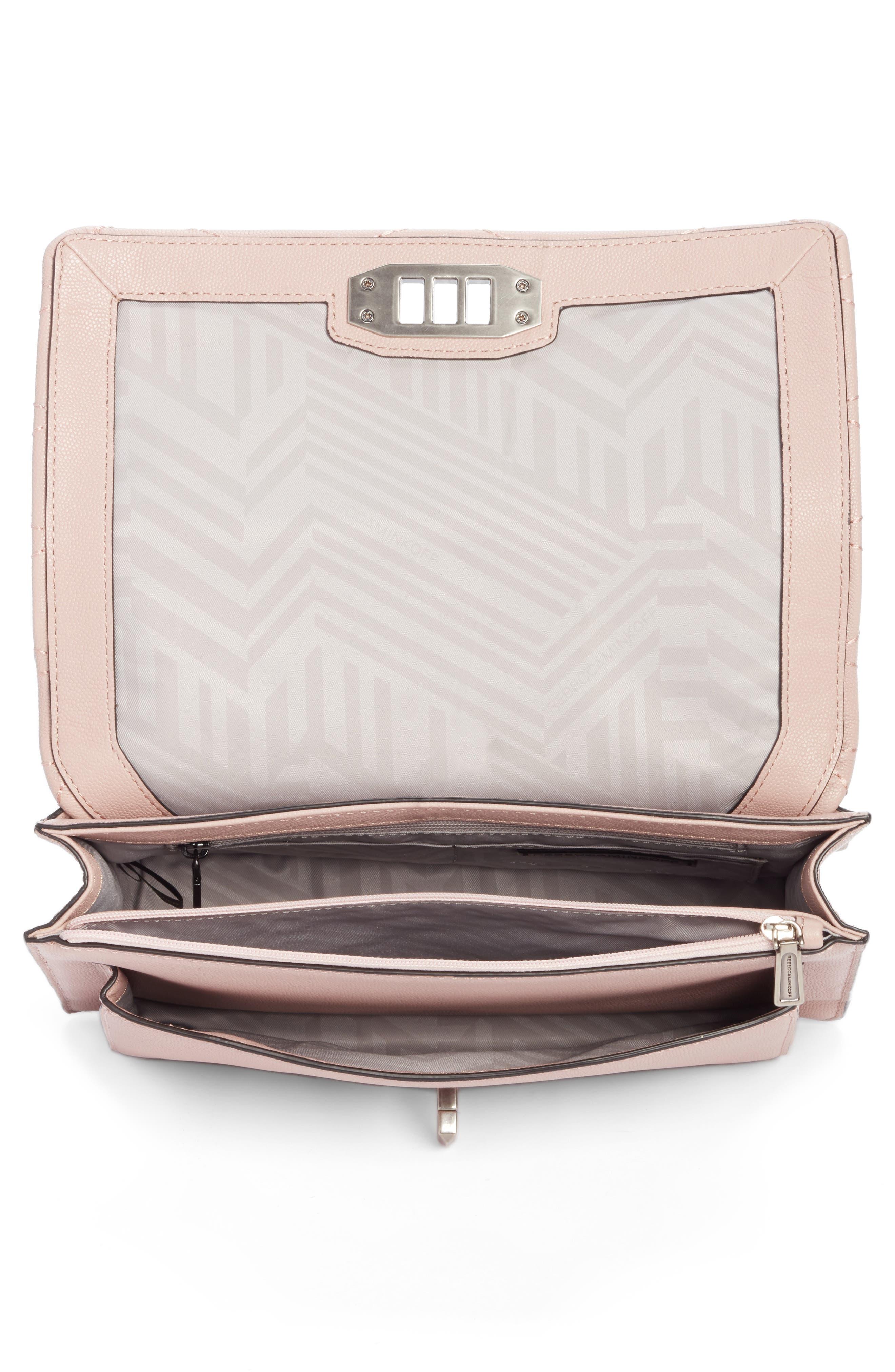 Medium Je T'aime Convertible Leather Crossbody Bag,                             Alternate thumbnail 3, color,                             Vintage Pink