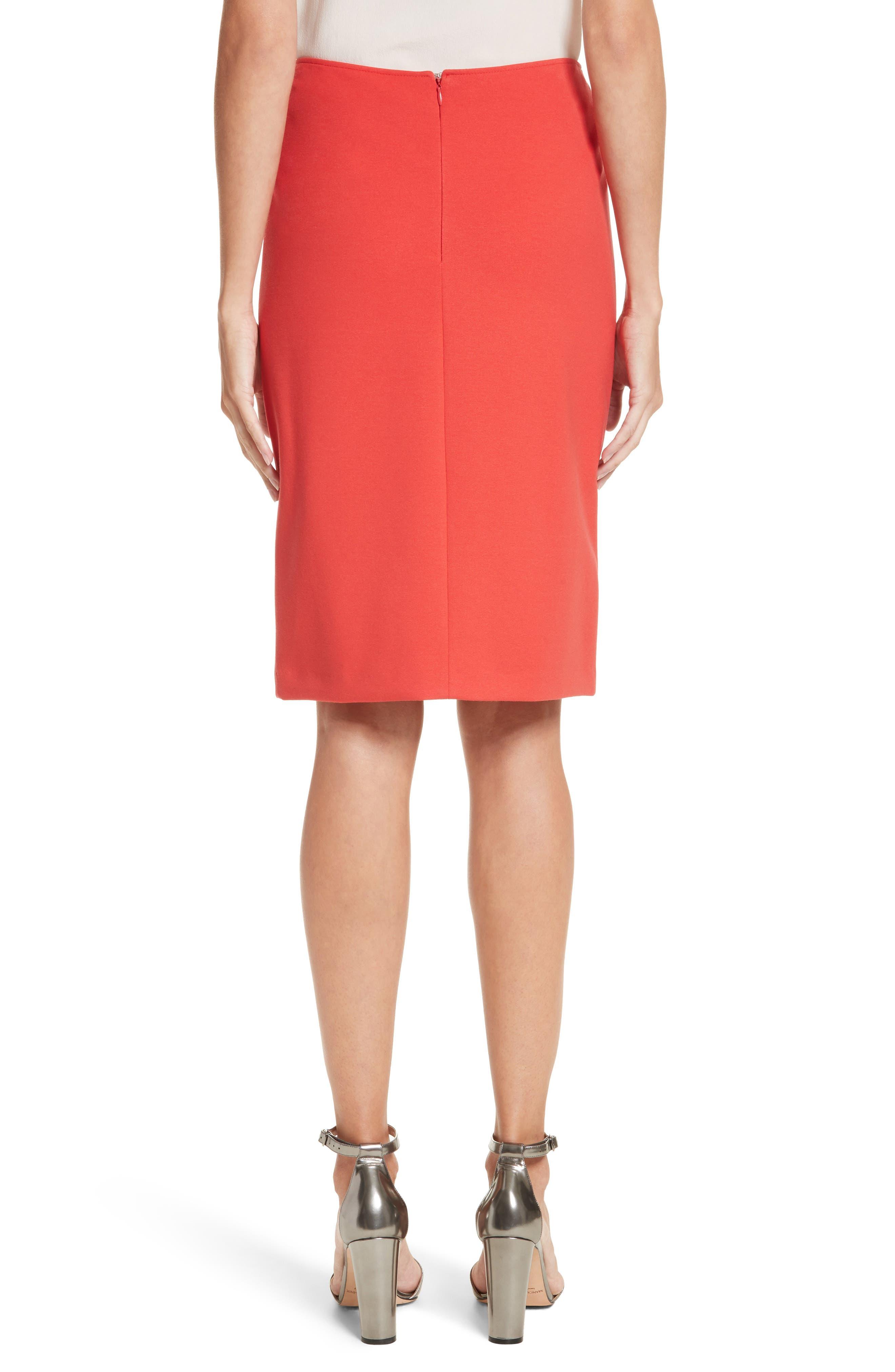 Milano Jersey Pencil Skirt,                             Alternate thumbnail 2, color,                             Solid Bright Orange