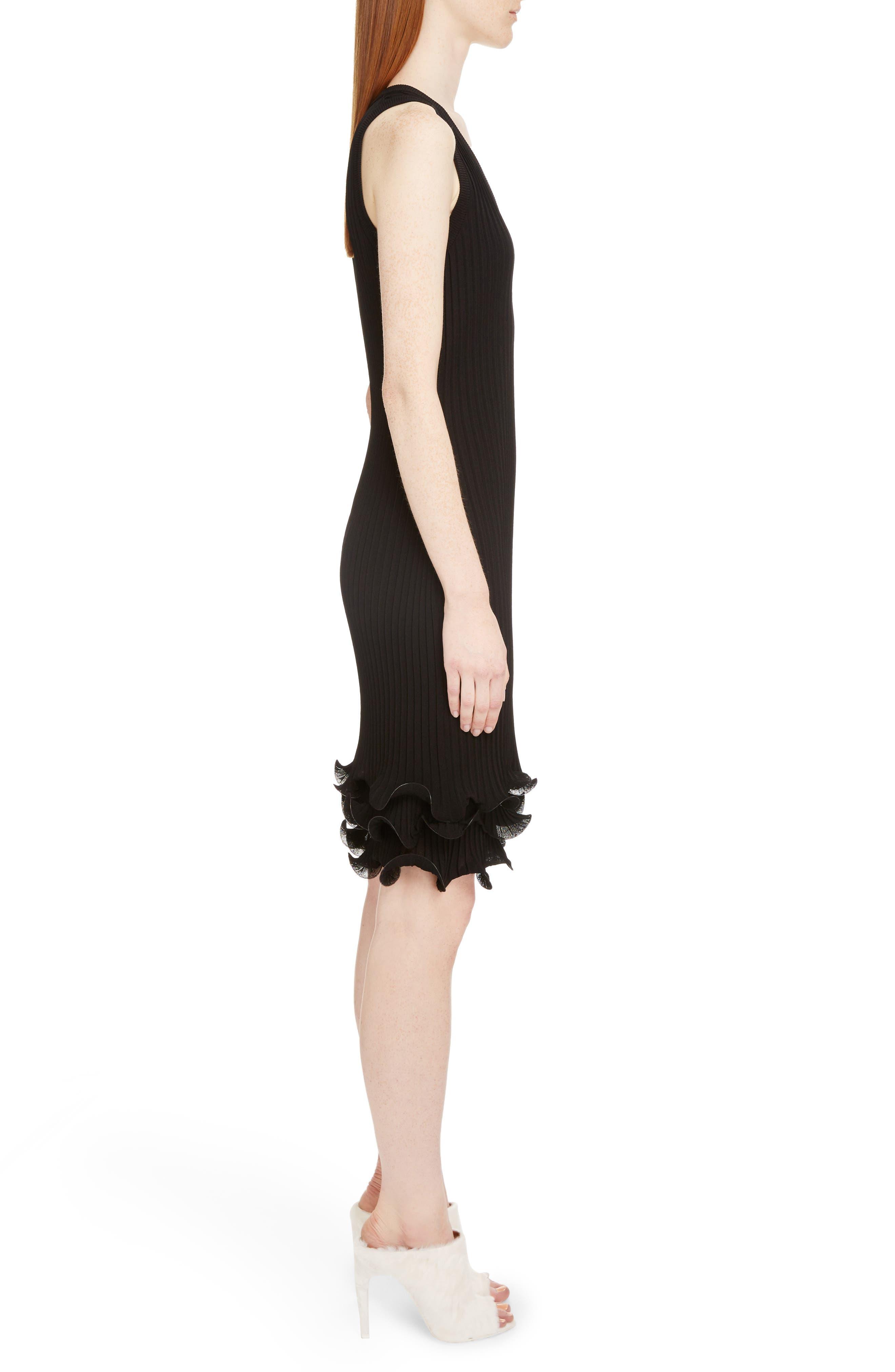 Ribbed Ruffle Hem Dress,                             Alternate thumbnail 3, color,                             Black