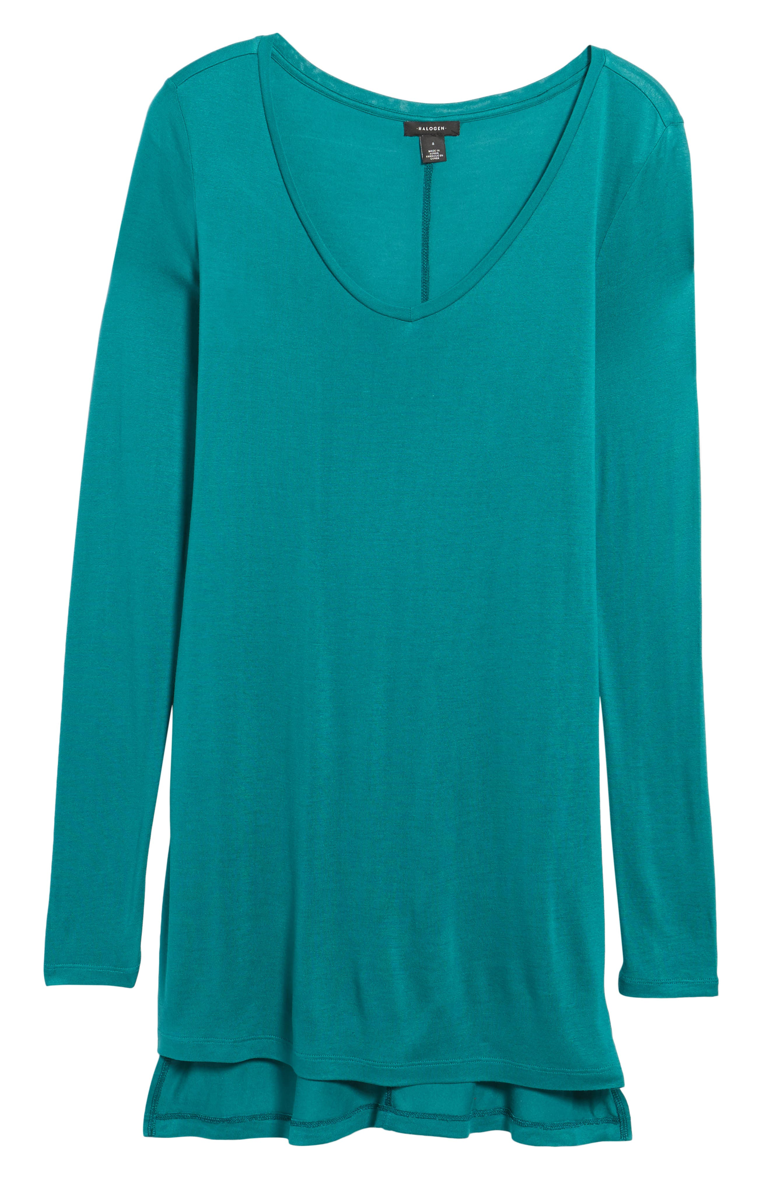 Long Sleeve Lightweight Tunic,                             Alternate thumbnail 6, color,                             Teal Green