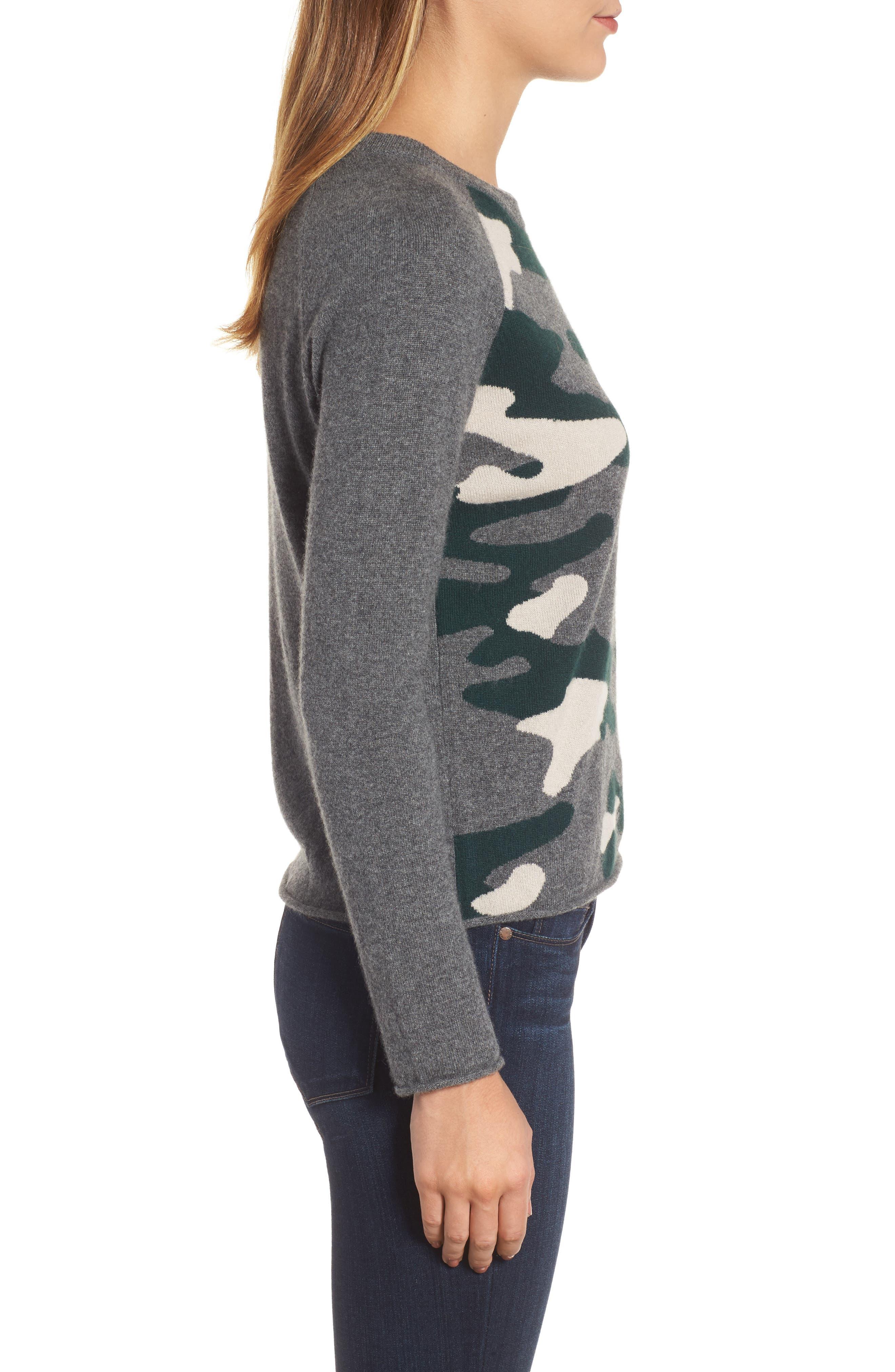 Camo Cashmere Sweater,                             Alternate thumbnail 3, color,                             Multi