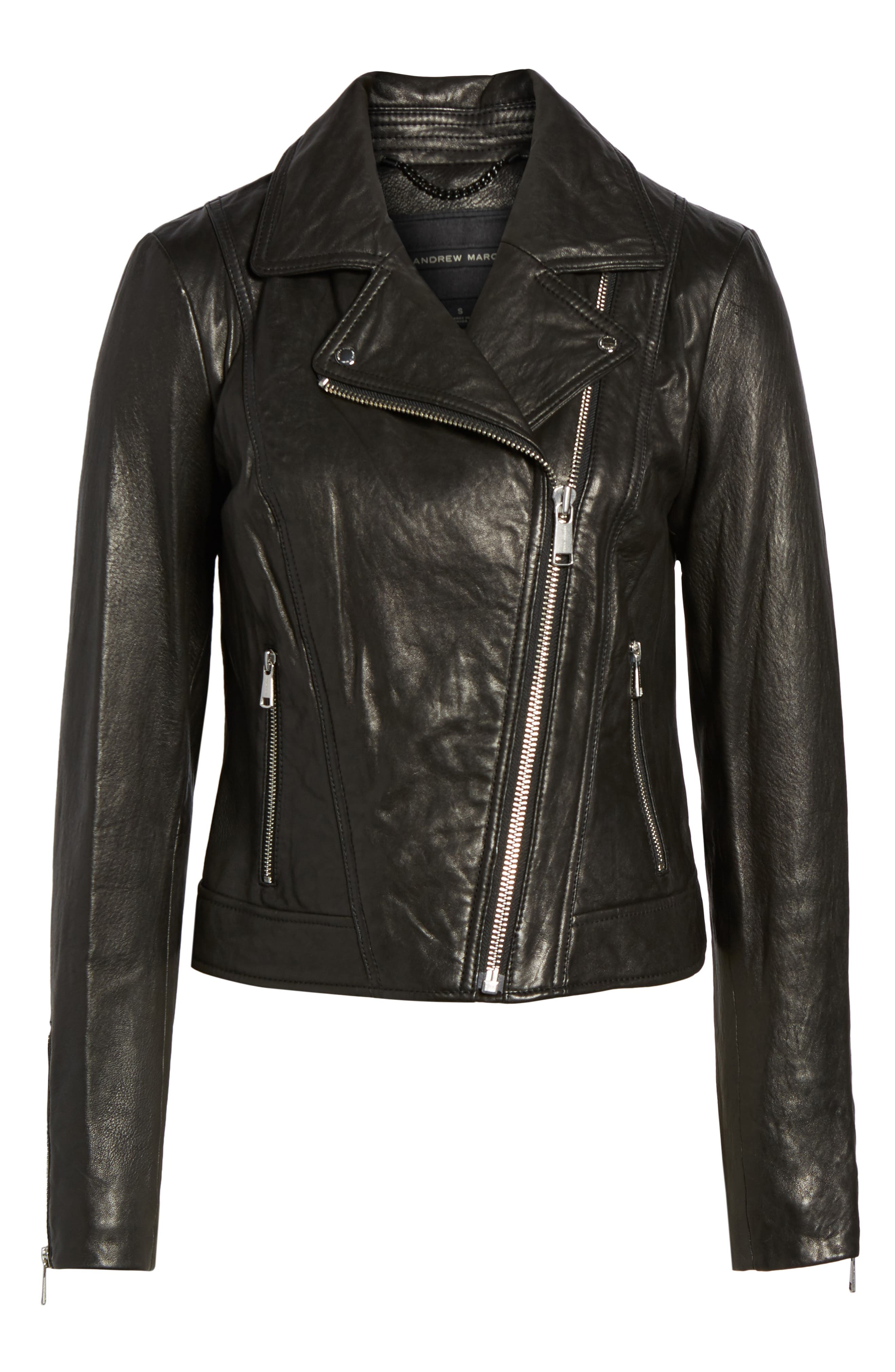 Leather Jacket,                             Alternate thumbnail 6, color,                             Black