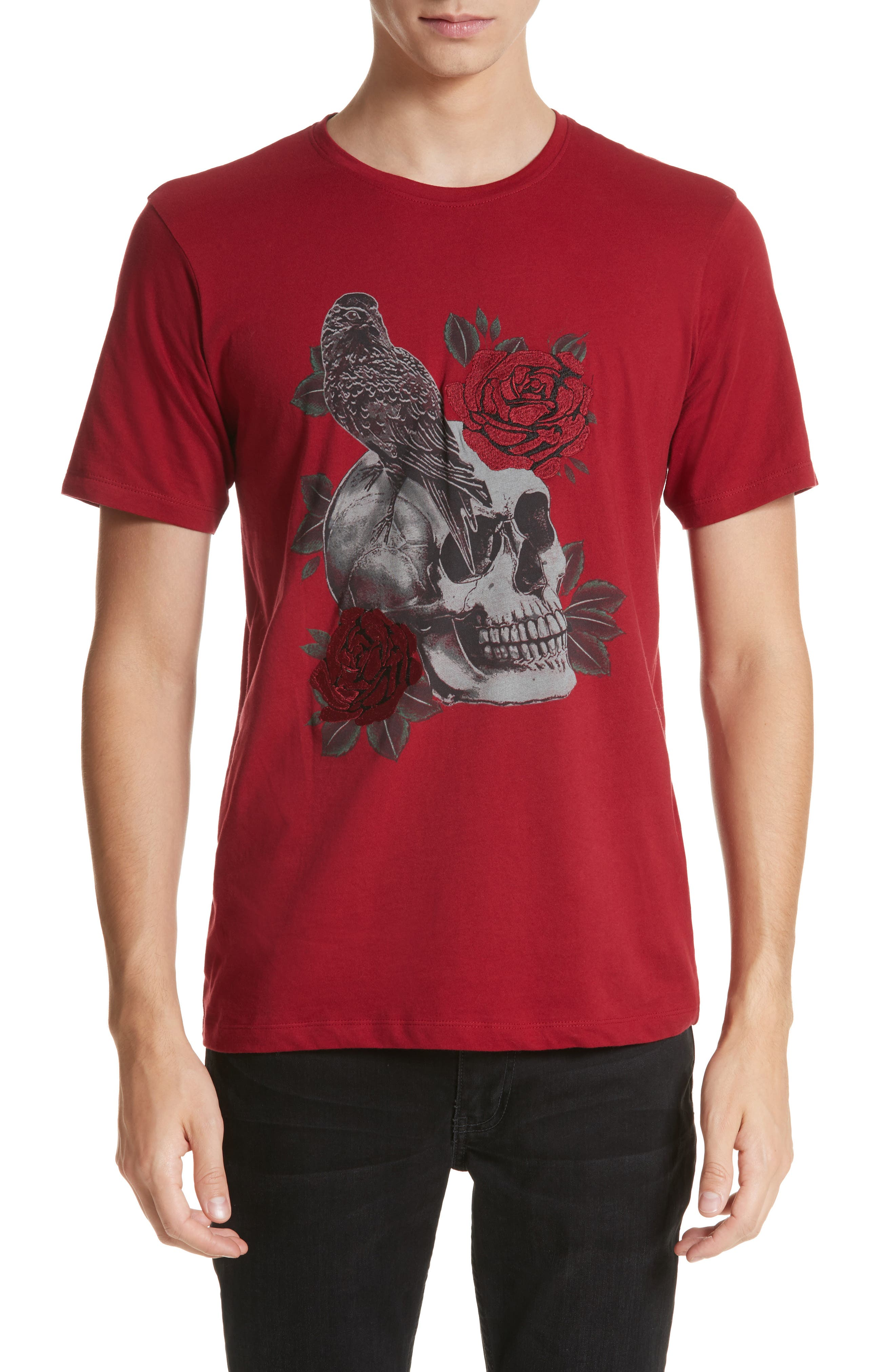 Embroidered Skull Graphic T-Shirt,                             Main thumbnail 1, color,                             Red