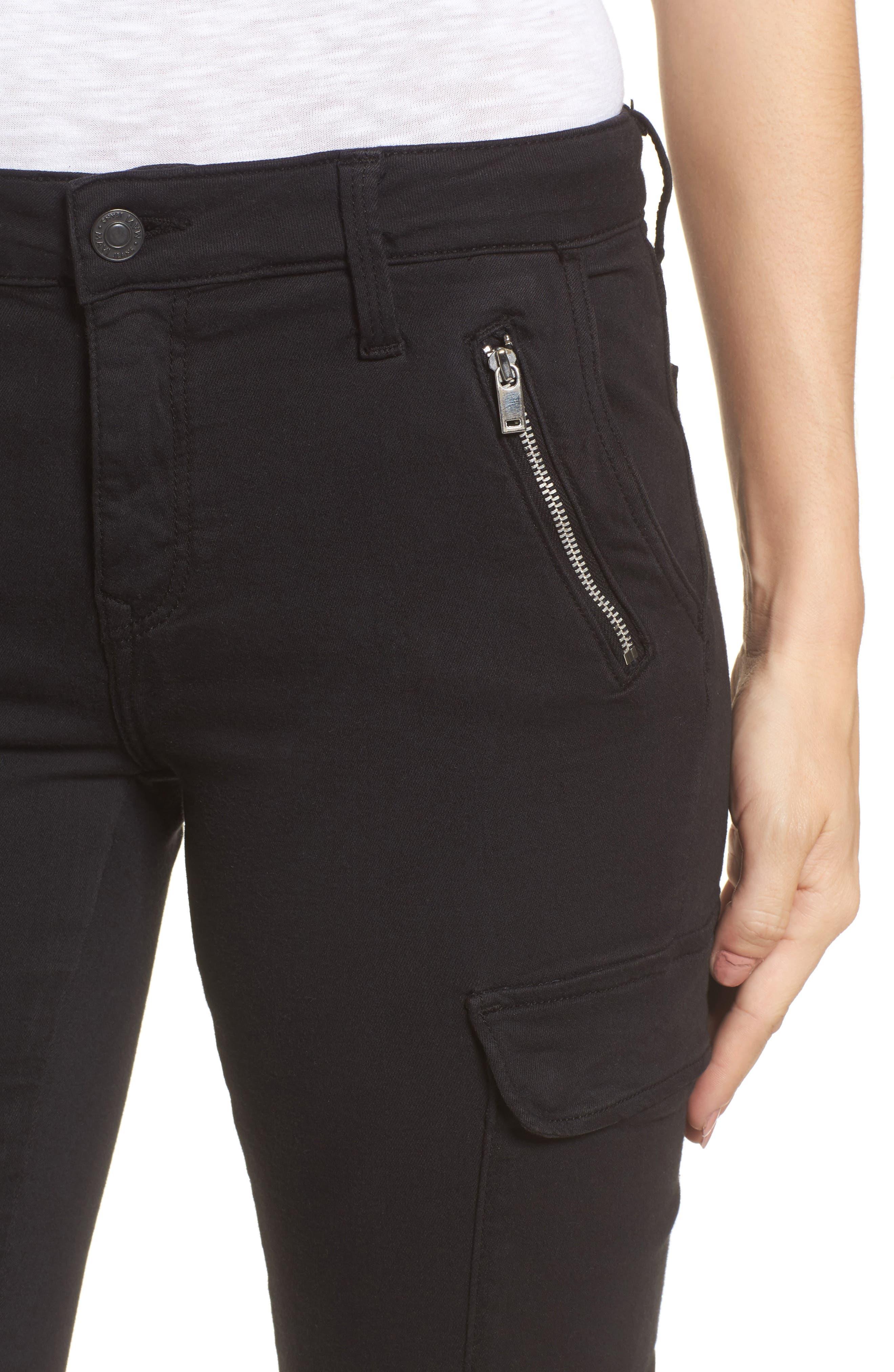 Juliette Skinny Cargo Pants,                             Alternate thumbnail 4, color,                             Black Twill