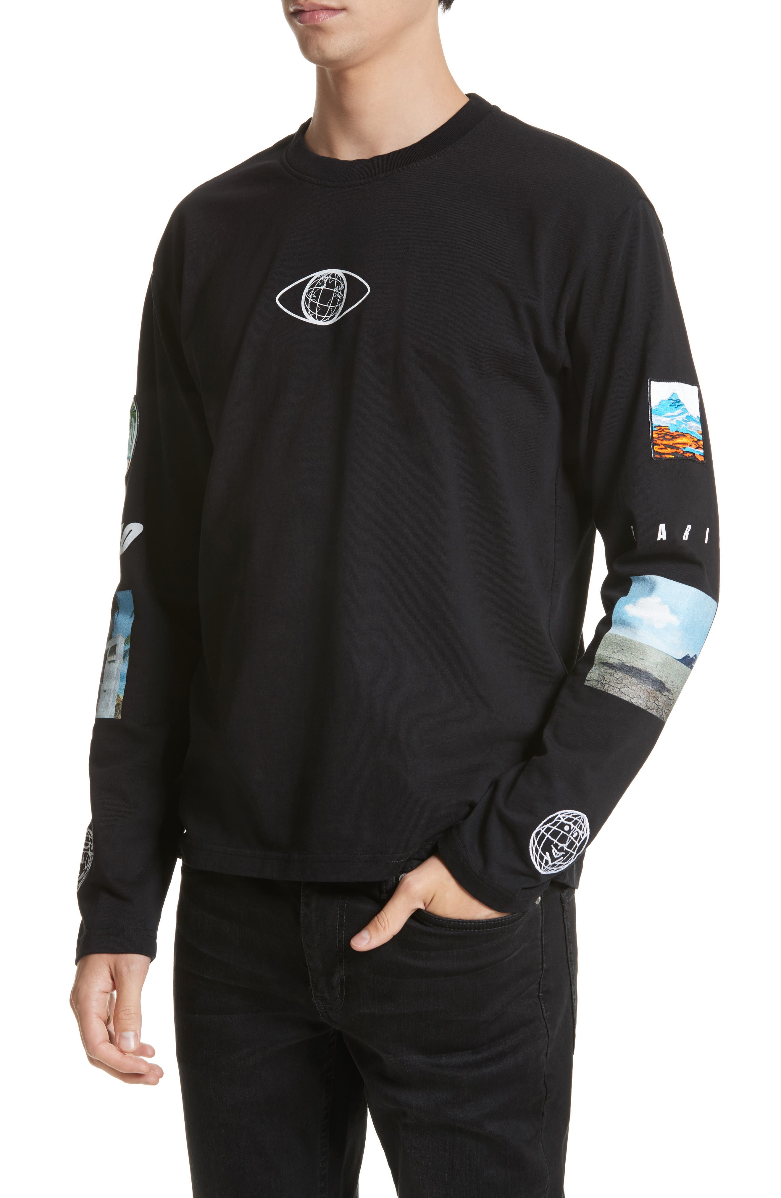 Landscape Long Sleeve T-Shirt,                             Alternate thumbnail 4, color,                             Black