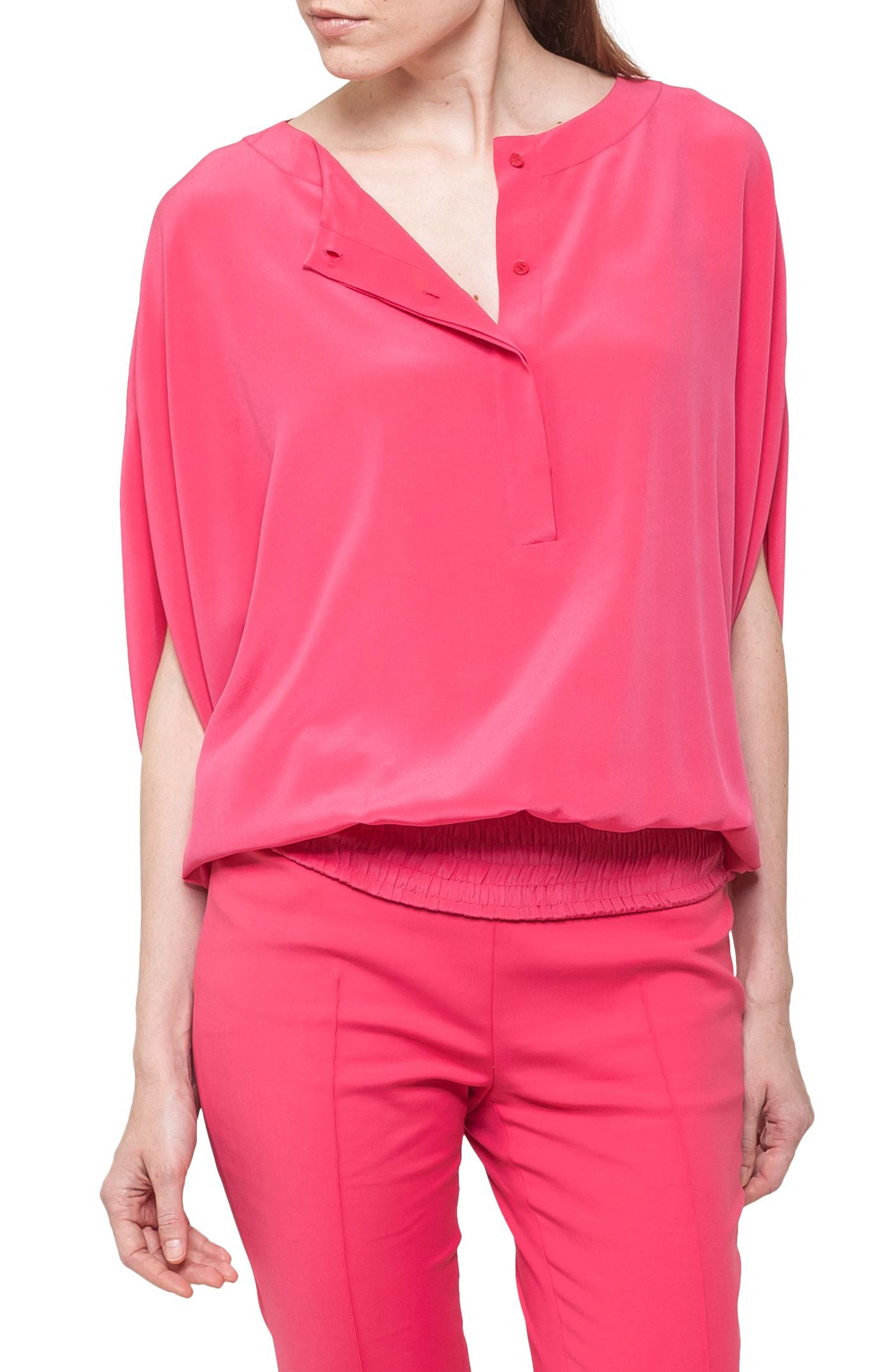 Batwing Silk Blouse,                         Main,                         color, Sunset