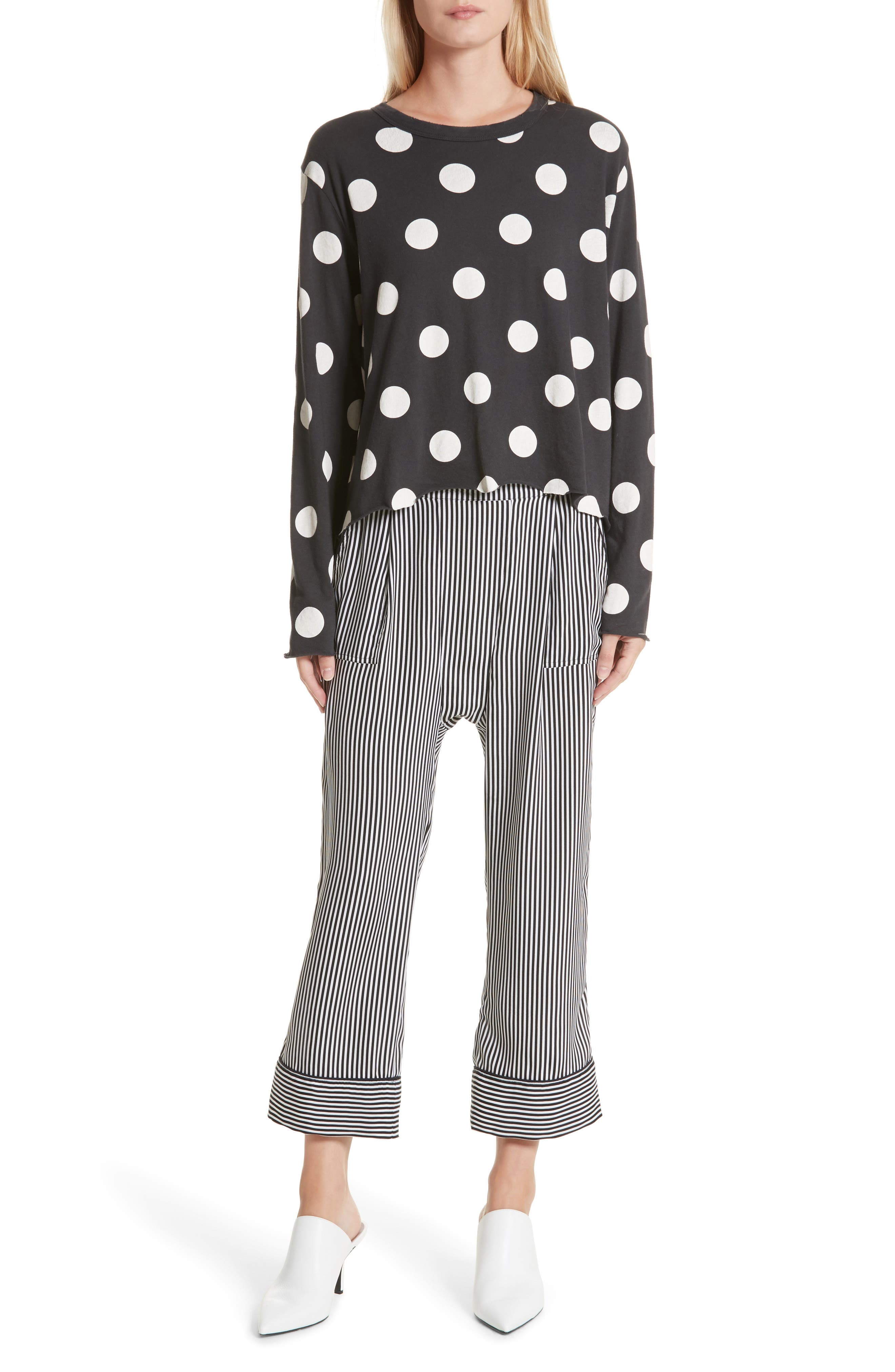 The Long Sleeve Crop Dot Print Tee,                             Alternate thumbnail 2, color,                             Washed Black White Dots