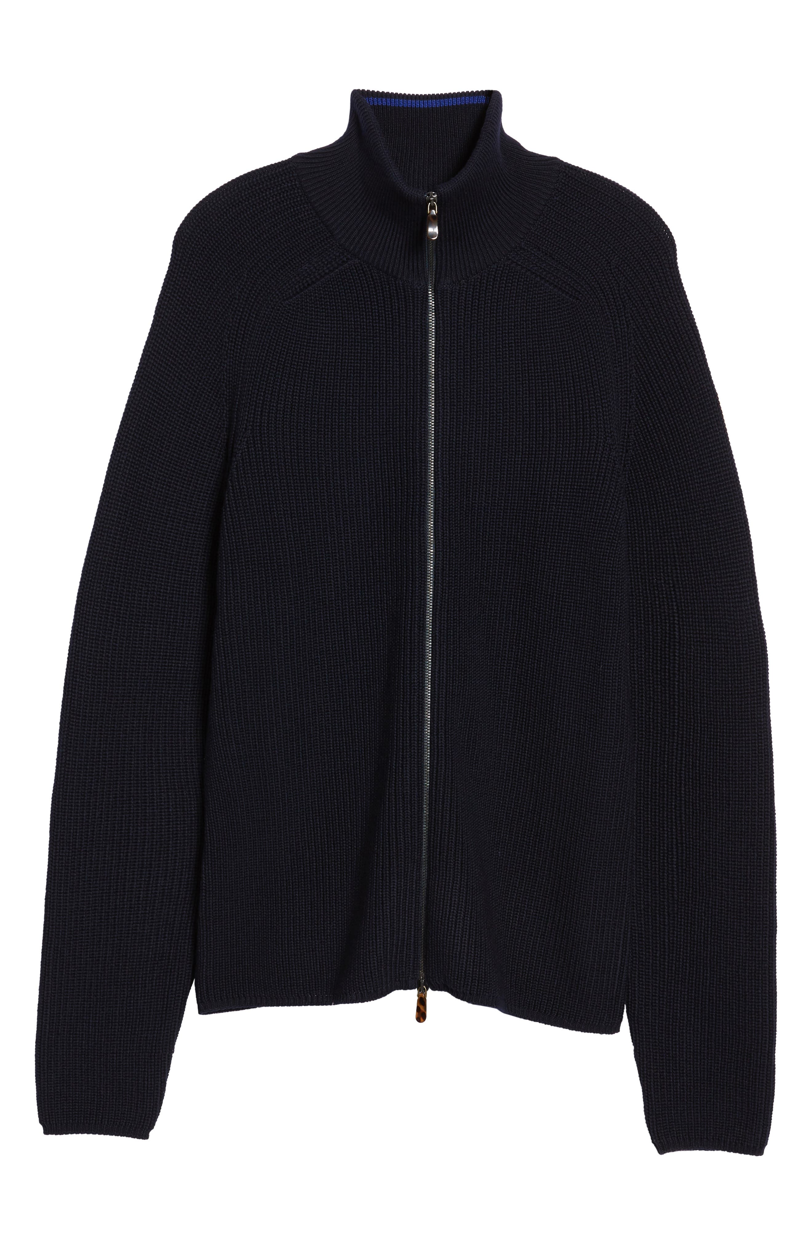 Shaker Stitch Wool Zip Cardigan,                             Alternate thumbnail 6, color,                             Navy