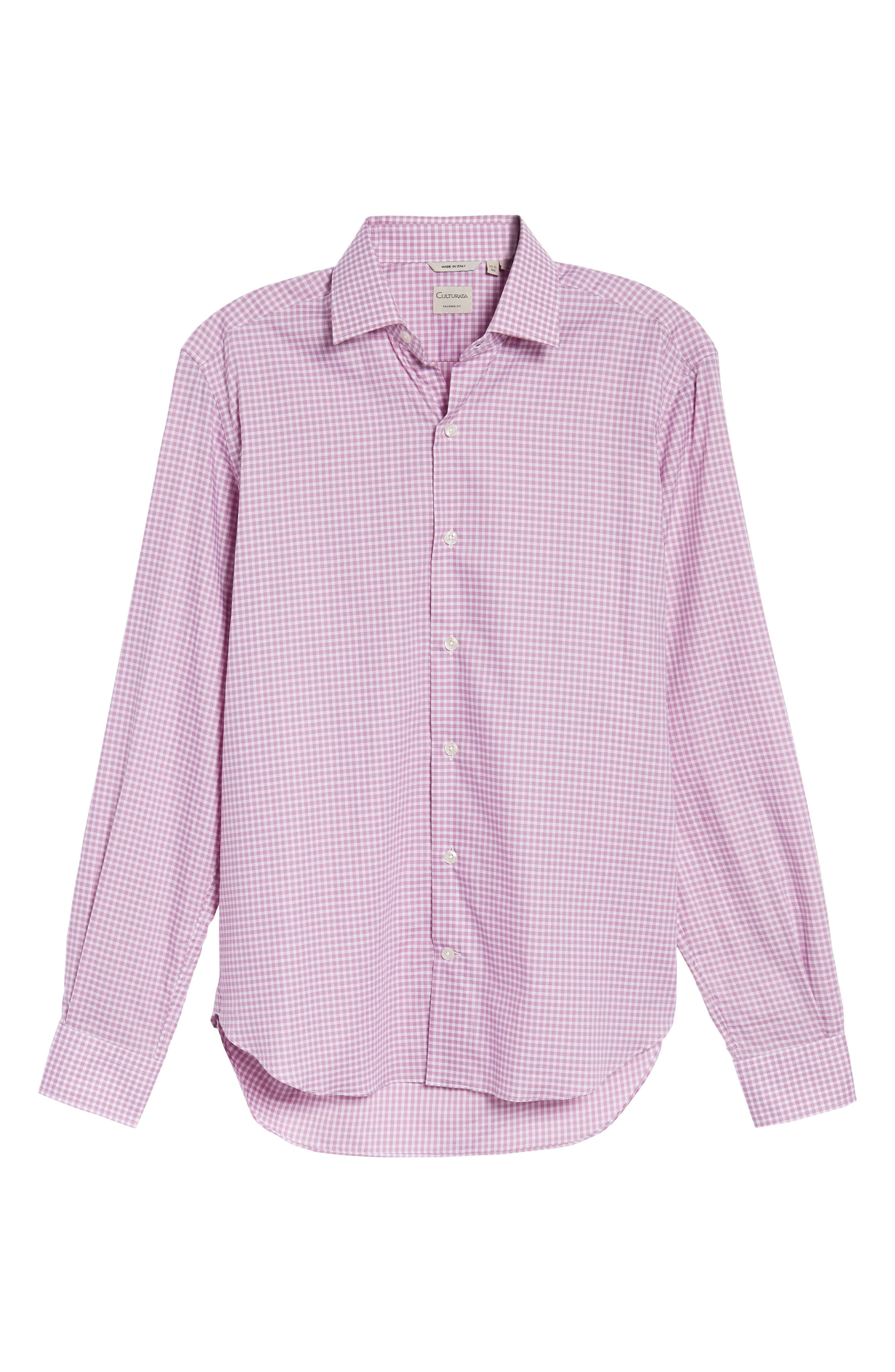 Slim Fit Check Twill Sport Shirt,                             Alternate thumbnail 6, color,                             Pink