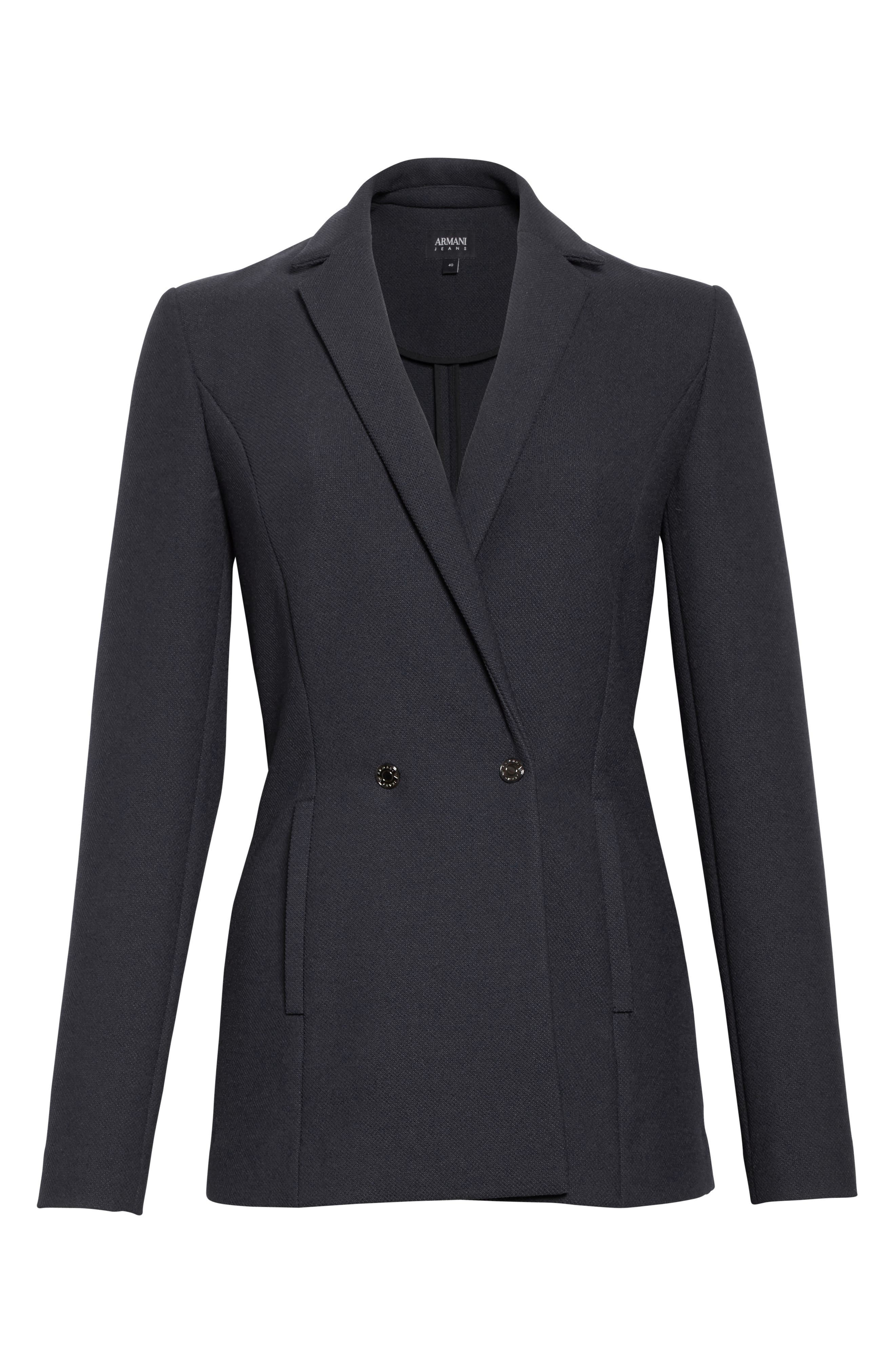 Armani Jeans Piqué Double Breasted Blazer,                             Alternate thumbnail 6, color,                             Navy