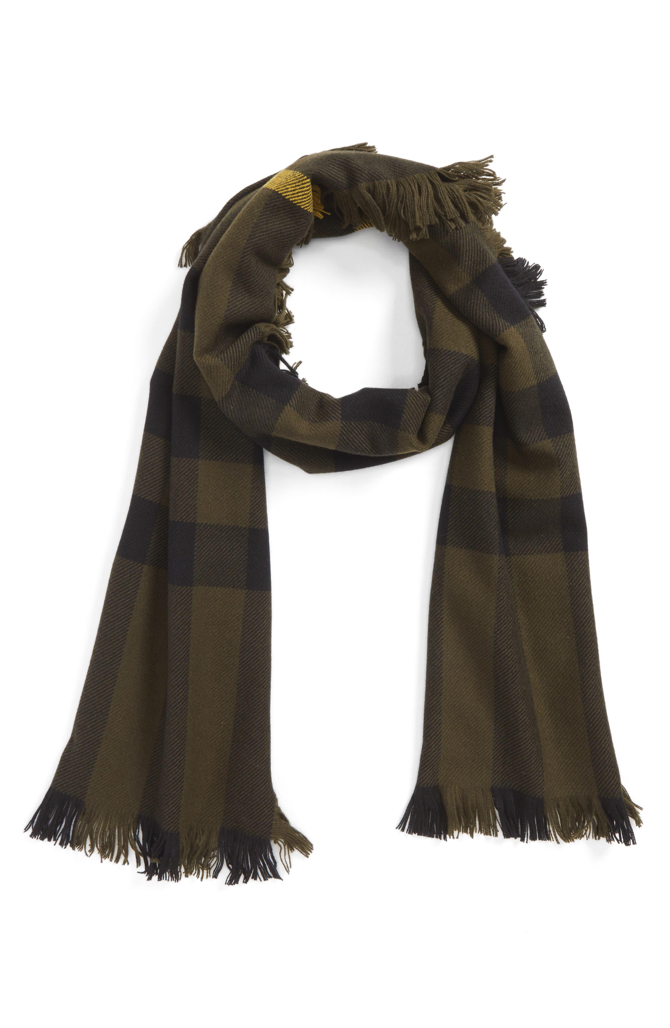 Half Mega Fashion Wool Fringe Scarf,                         Main,                         color, Military Green