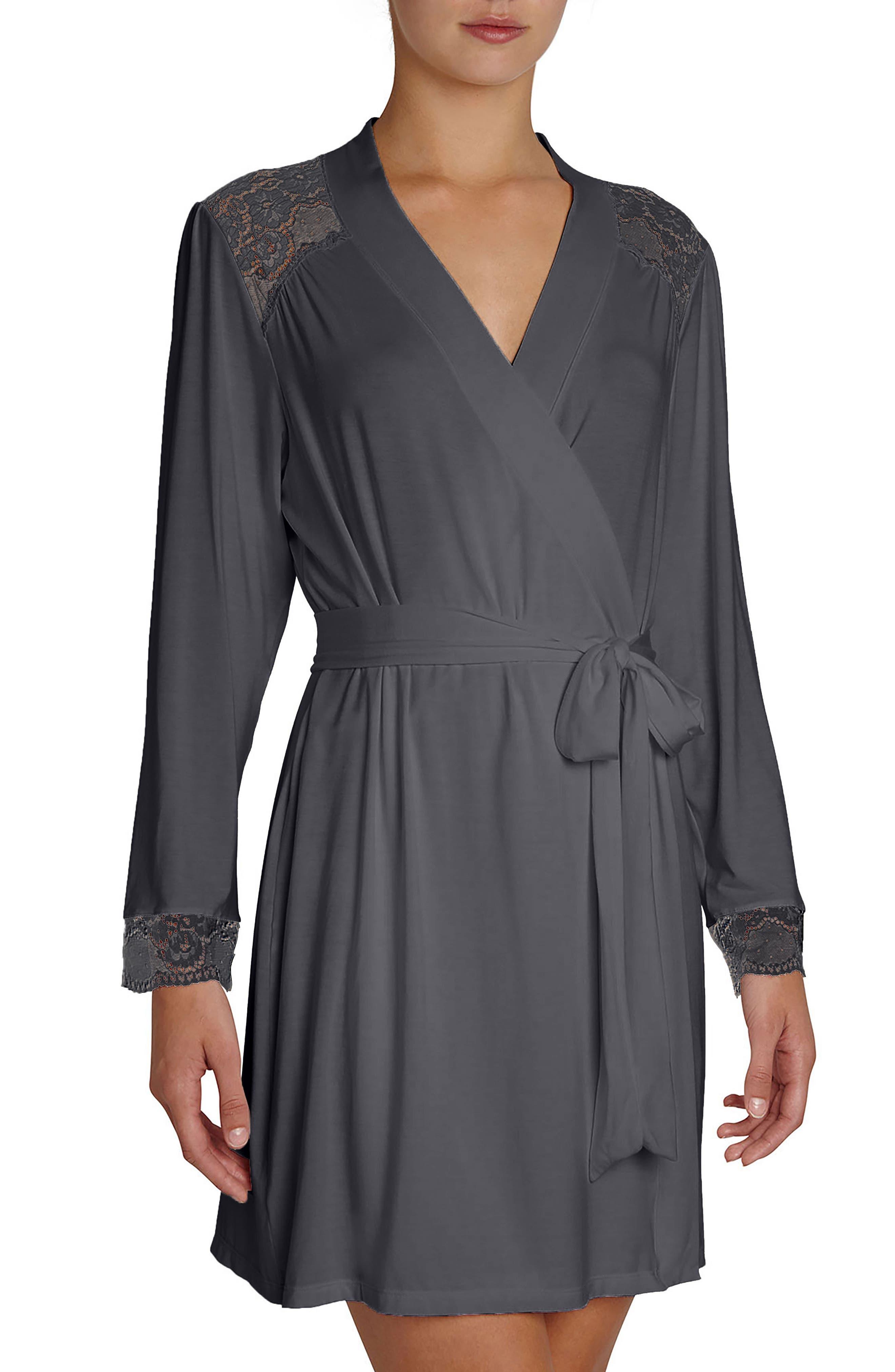 'Noor' Lace Trim Robe,                             Main thumbnail 1, color,                             Ebony