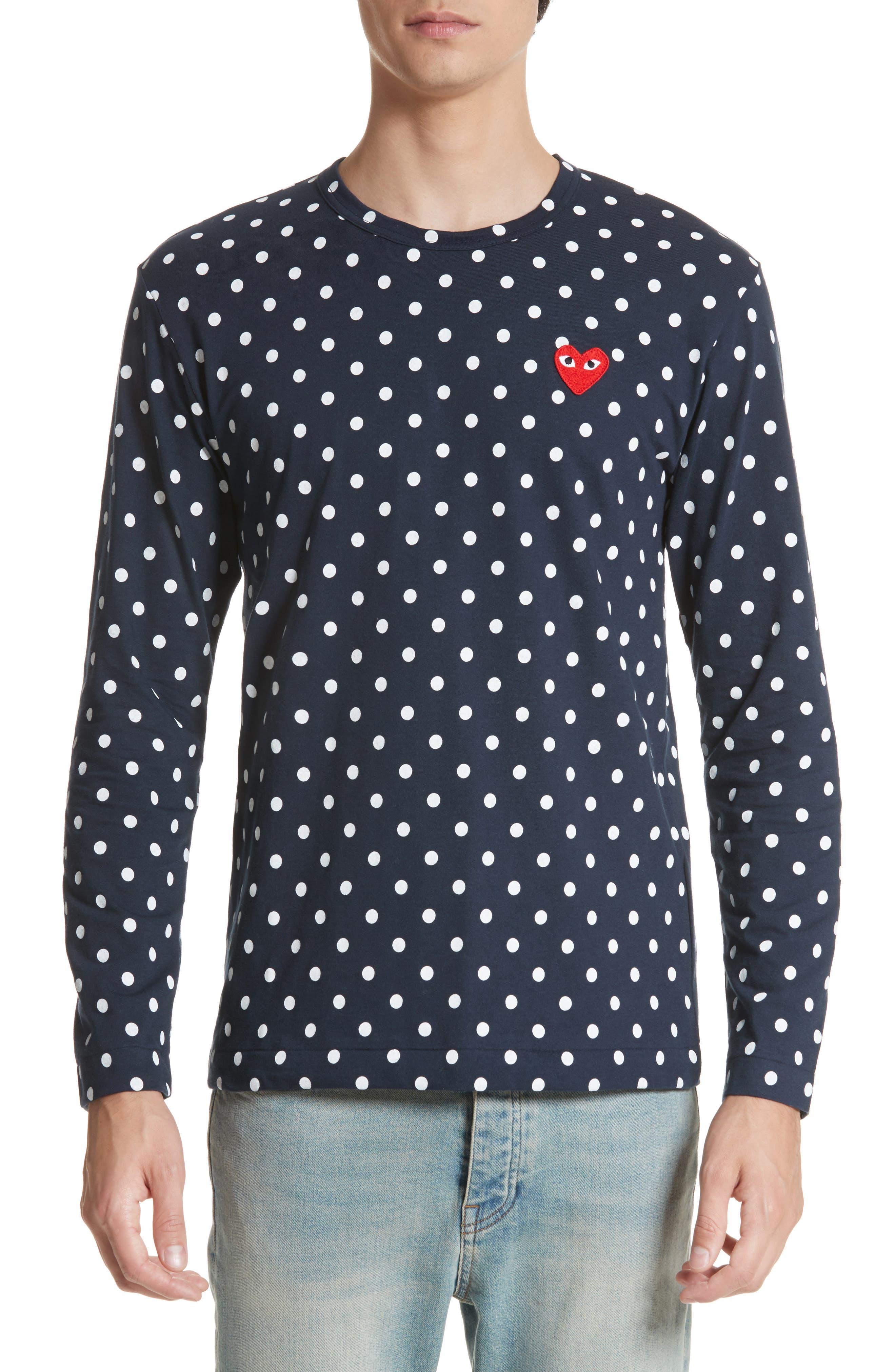 Comme des Garçons PLAY Dot Print Long Sleeve Crewneck T-Shirt