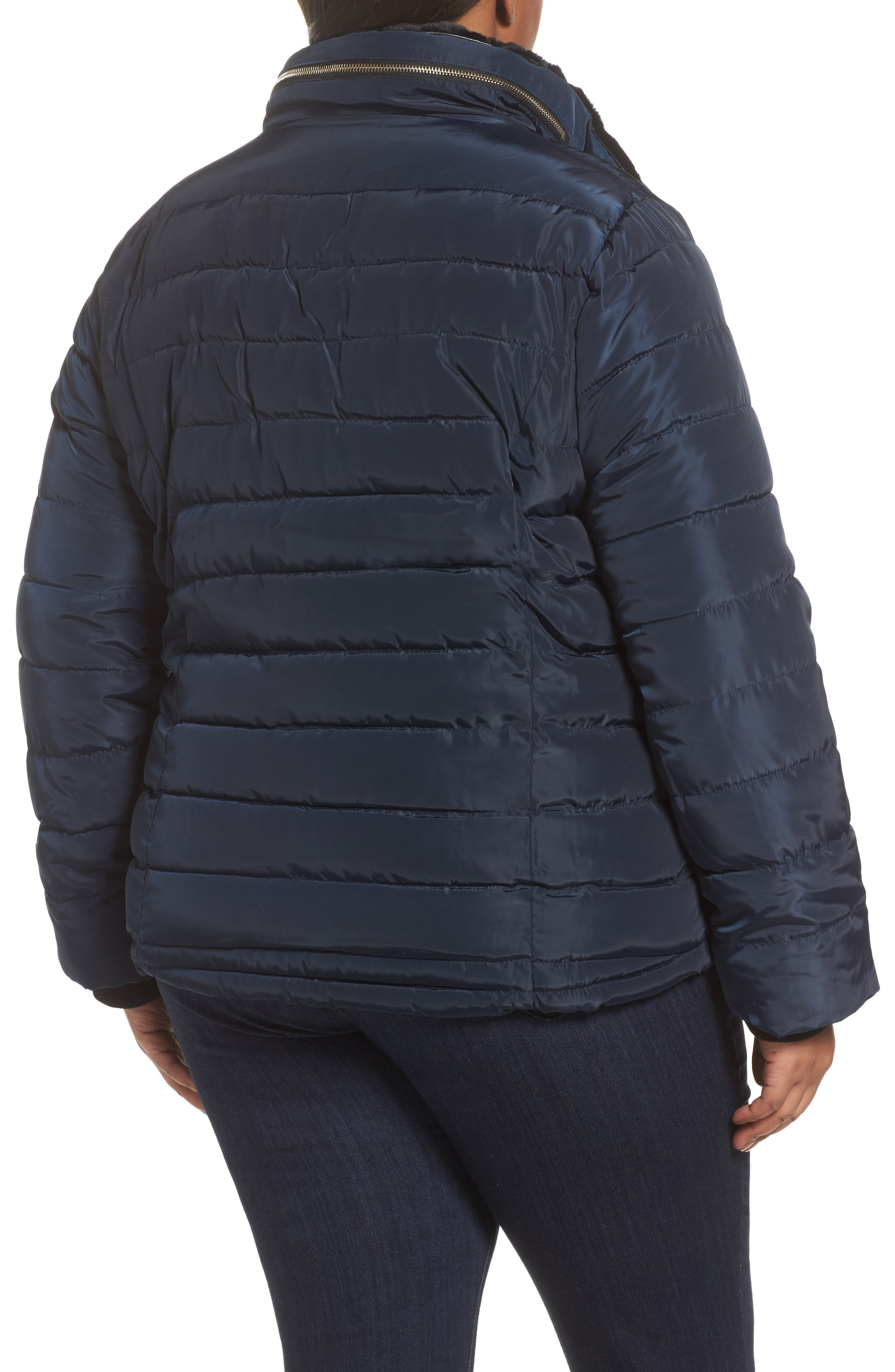 Alternate Image 2  - Dorothy Perkins Faux Fur Trim Hooded Puffer Jacket (Plus Size)