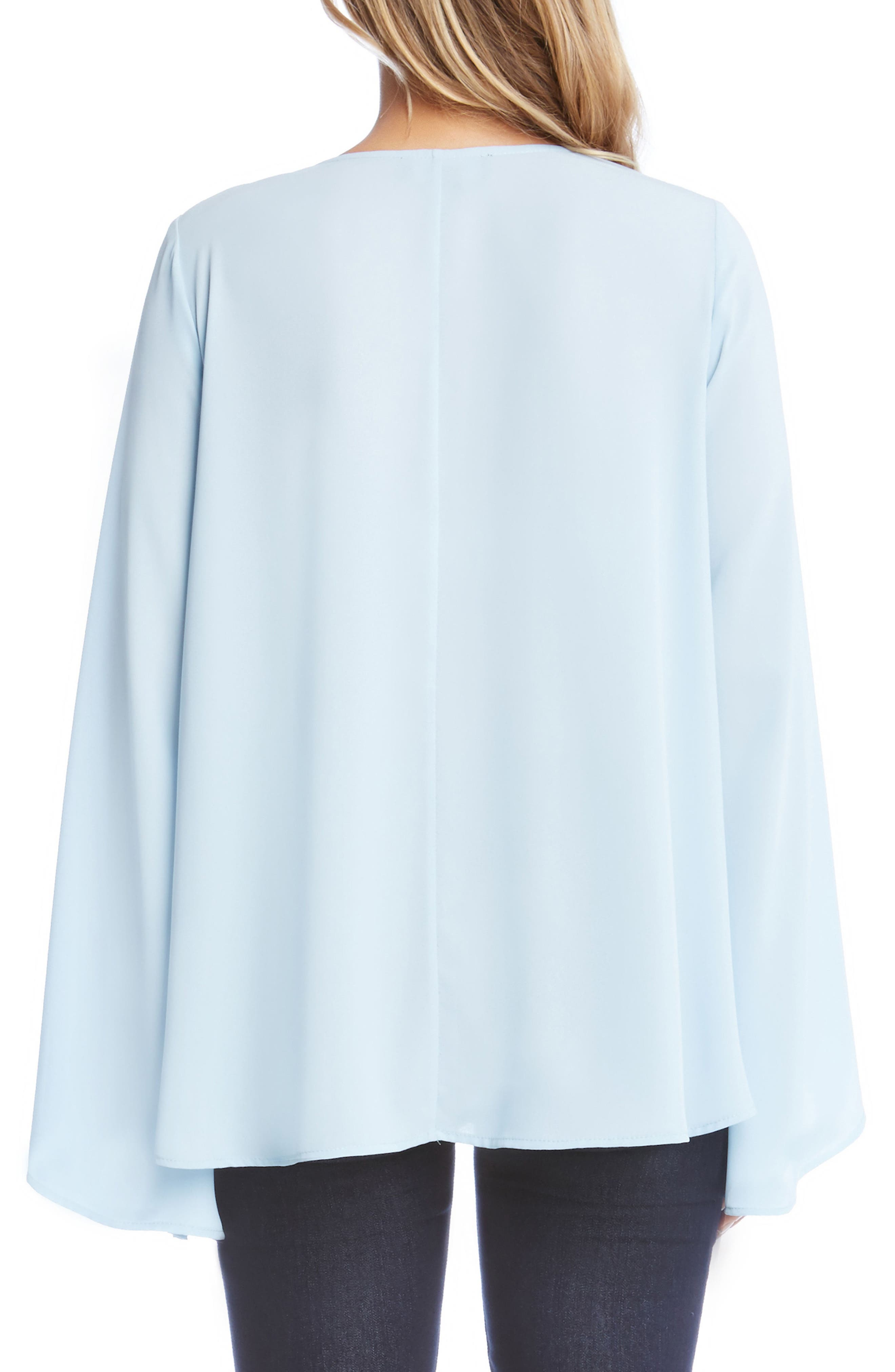 Crisscross Bell Sleeve Top,                             Alternate thumbnail 2, color,                             Light Blue