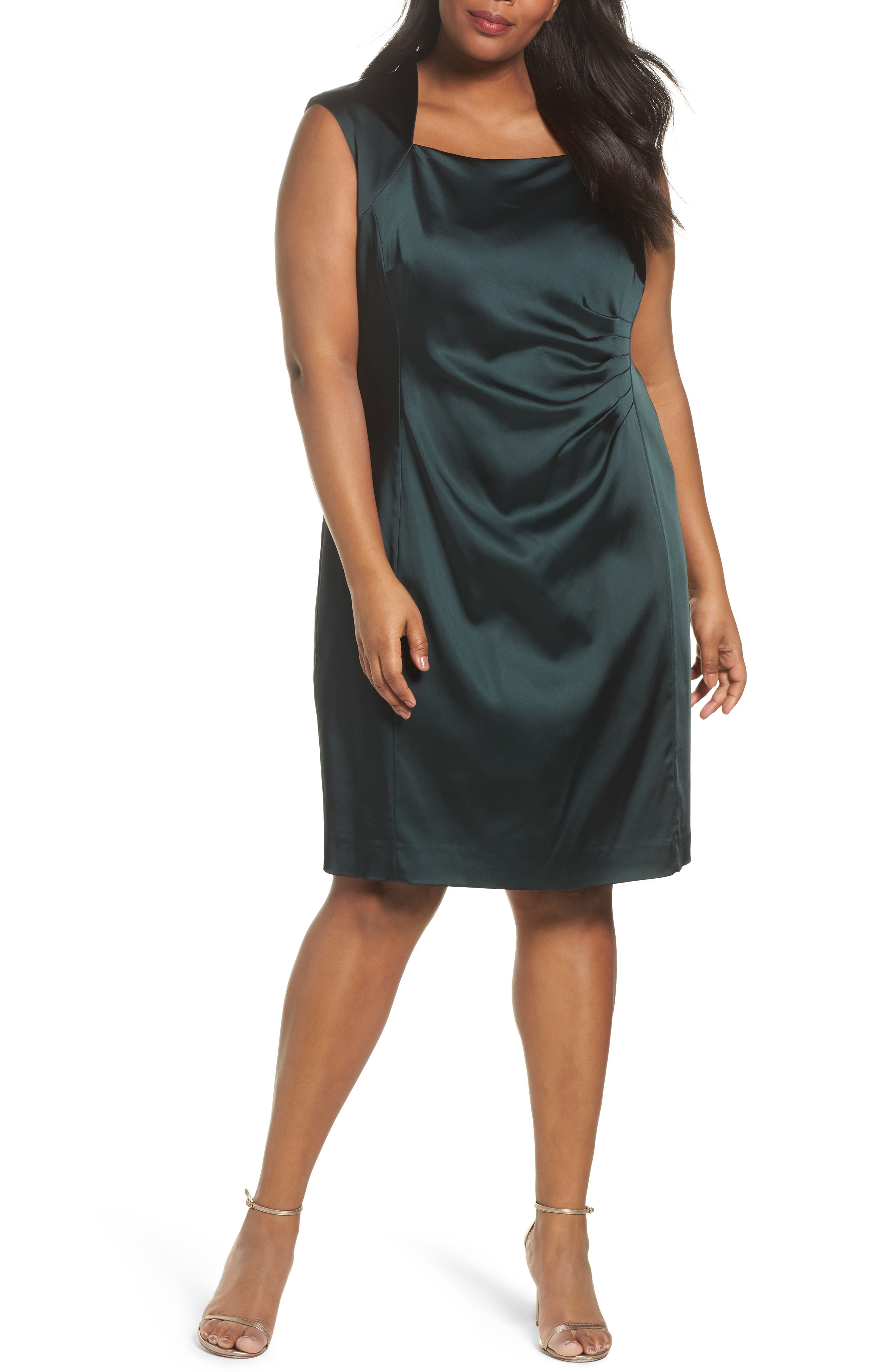 Side Pleat Satin Sheath Dress,                         Main,                         color, Forest Green