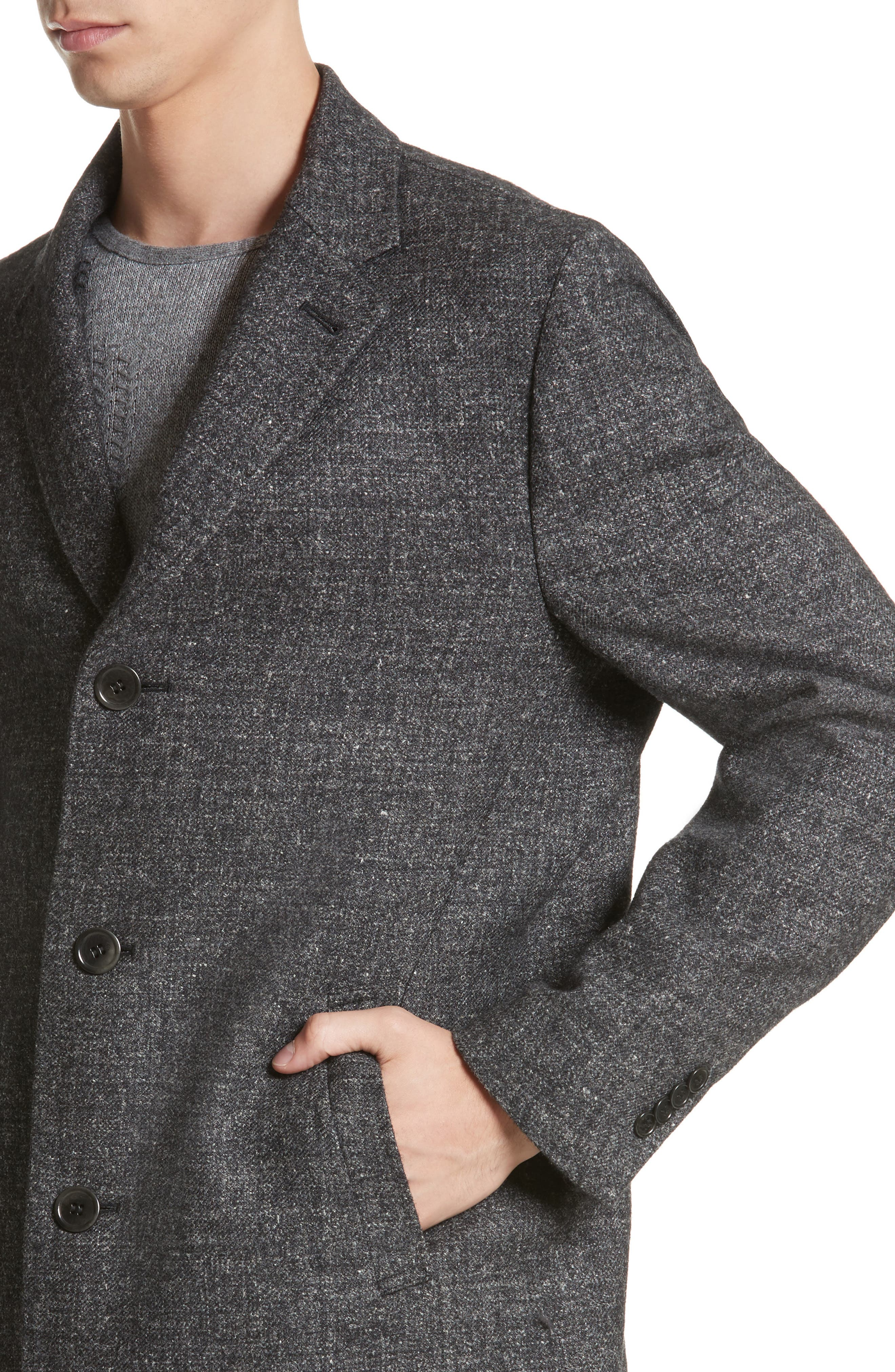Walsh Wool Blend Topcoat,                             Alternate thumbnail 4, color,                             Charcoal