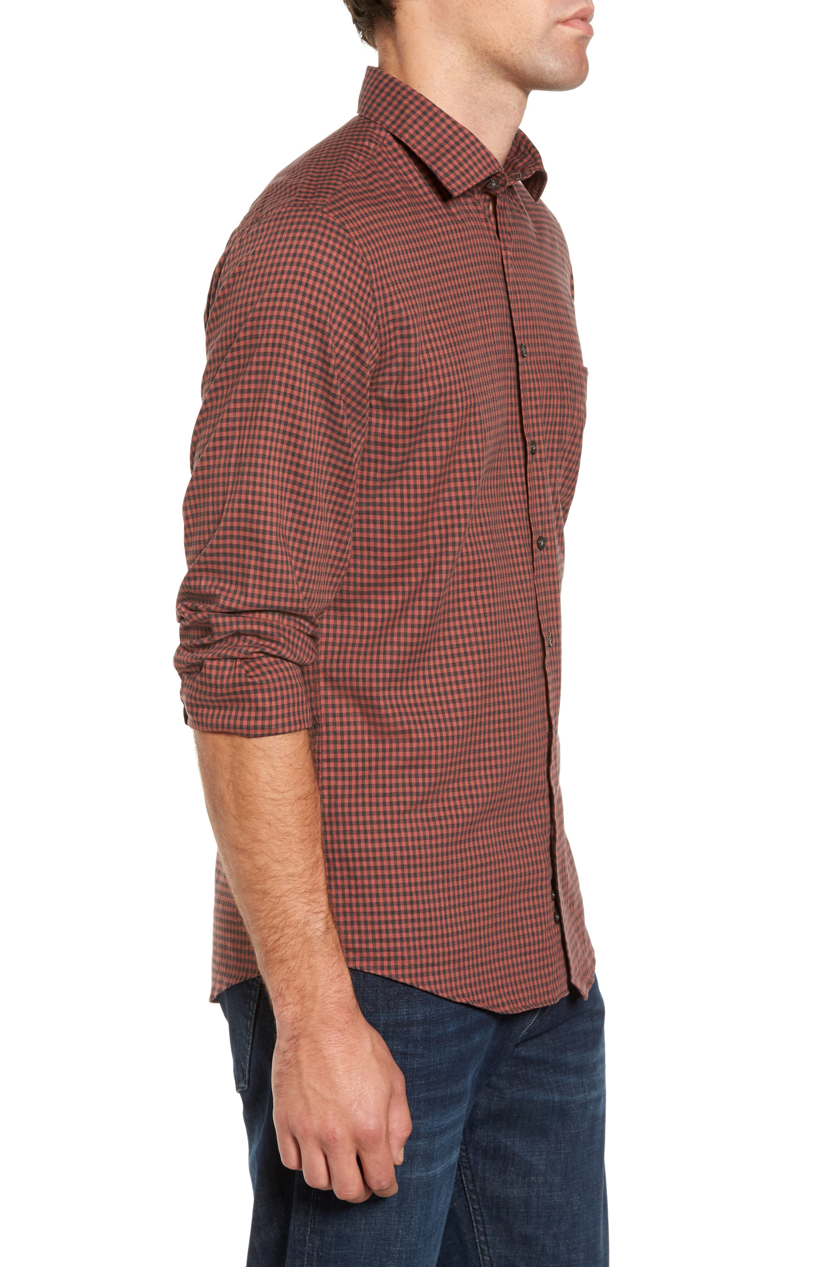 Halls Corner Check Sport Shirt,                             Alternate thumbnail 3, color,                             Red Ochre