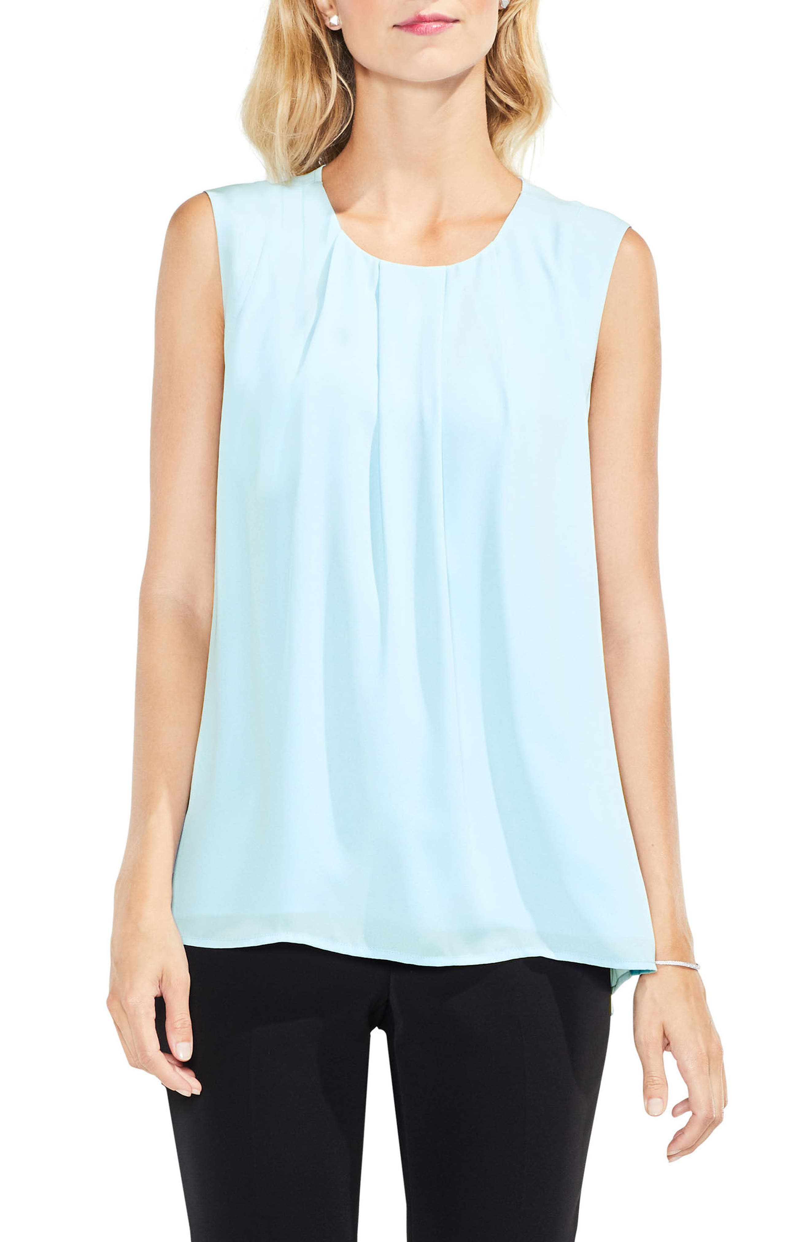 Pleat Neck Blouse,                             Main thumbnail 1, color,                             Aqua Mist