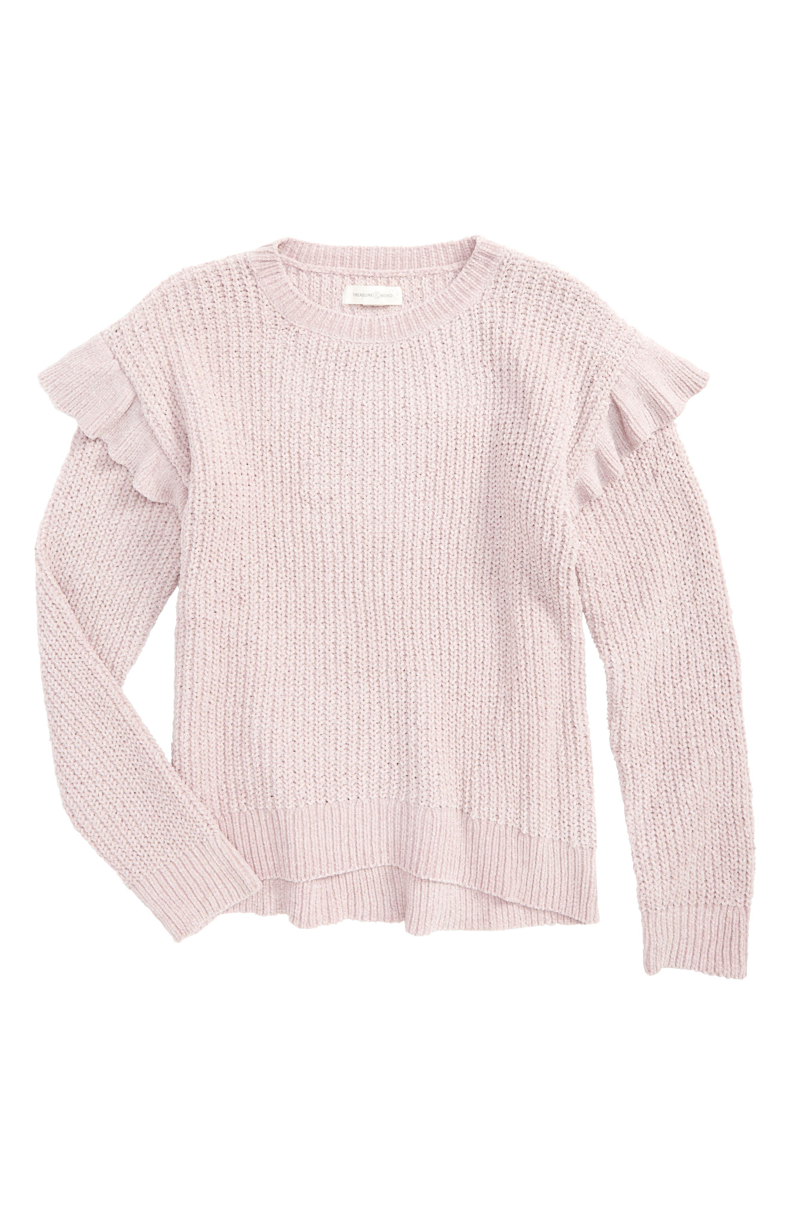 Alternate Image 1 Selected - Treasure & Bond Ruffle Sweater (Big Girls)