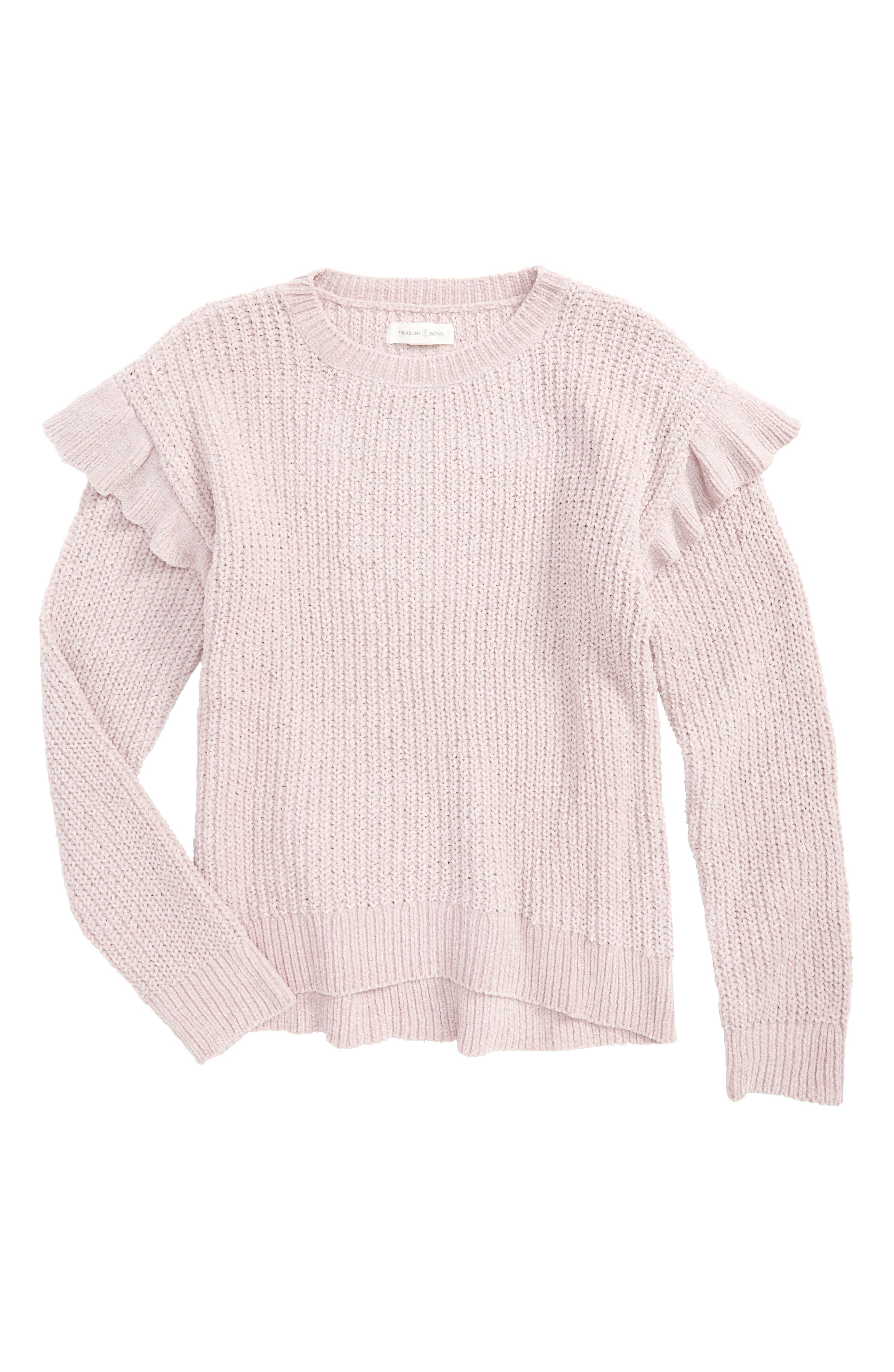 Ruffle Sweater,                         Main,                         color, Pink Antique