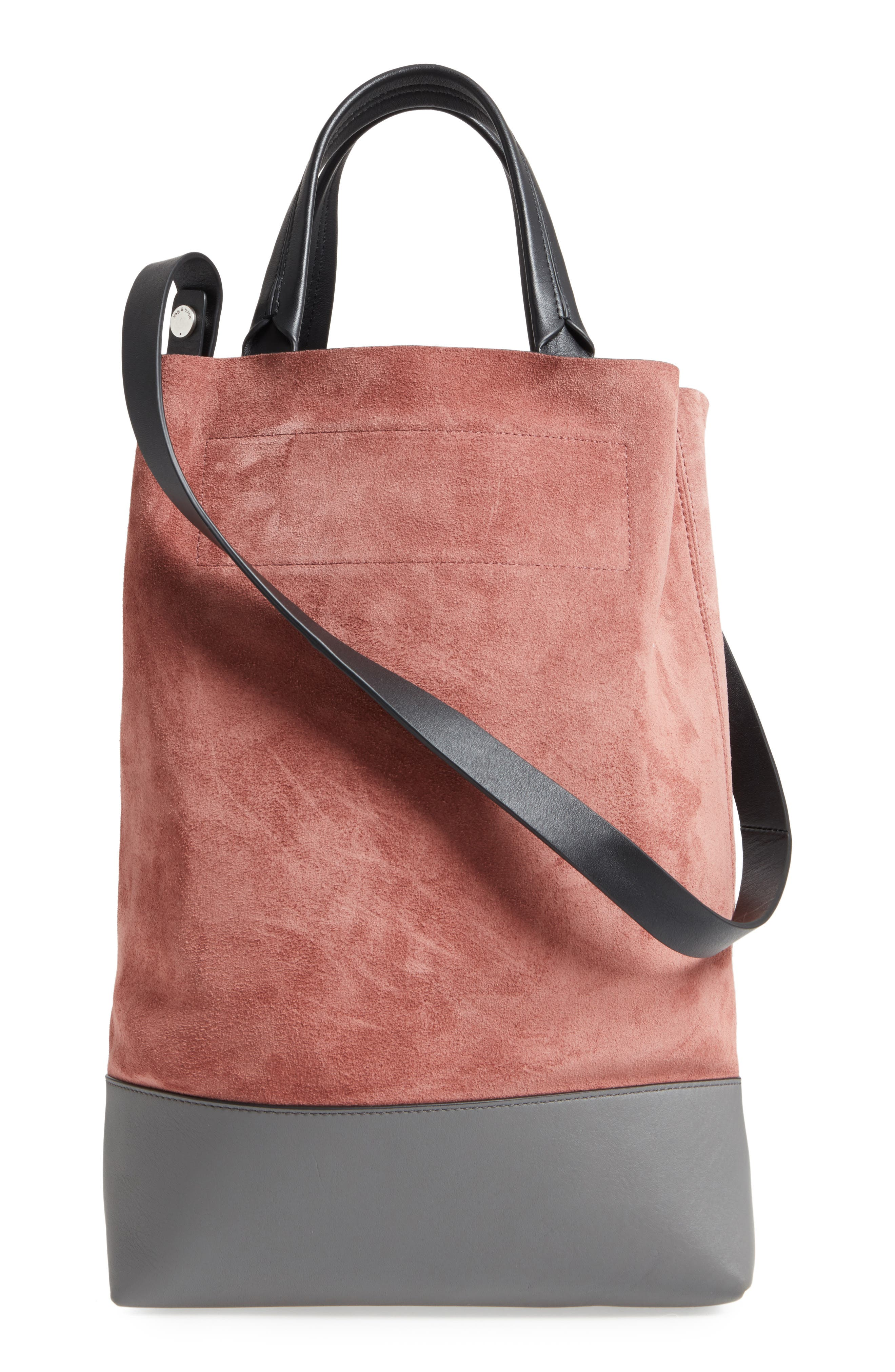 Walker Convertible Suede & Leather Tote,                             Alternate thumbnail 2, color,                             Mauve Suede