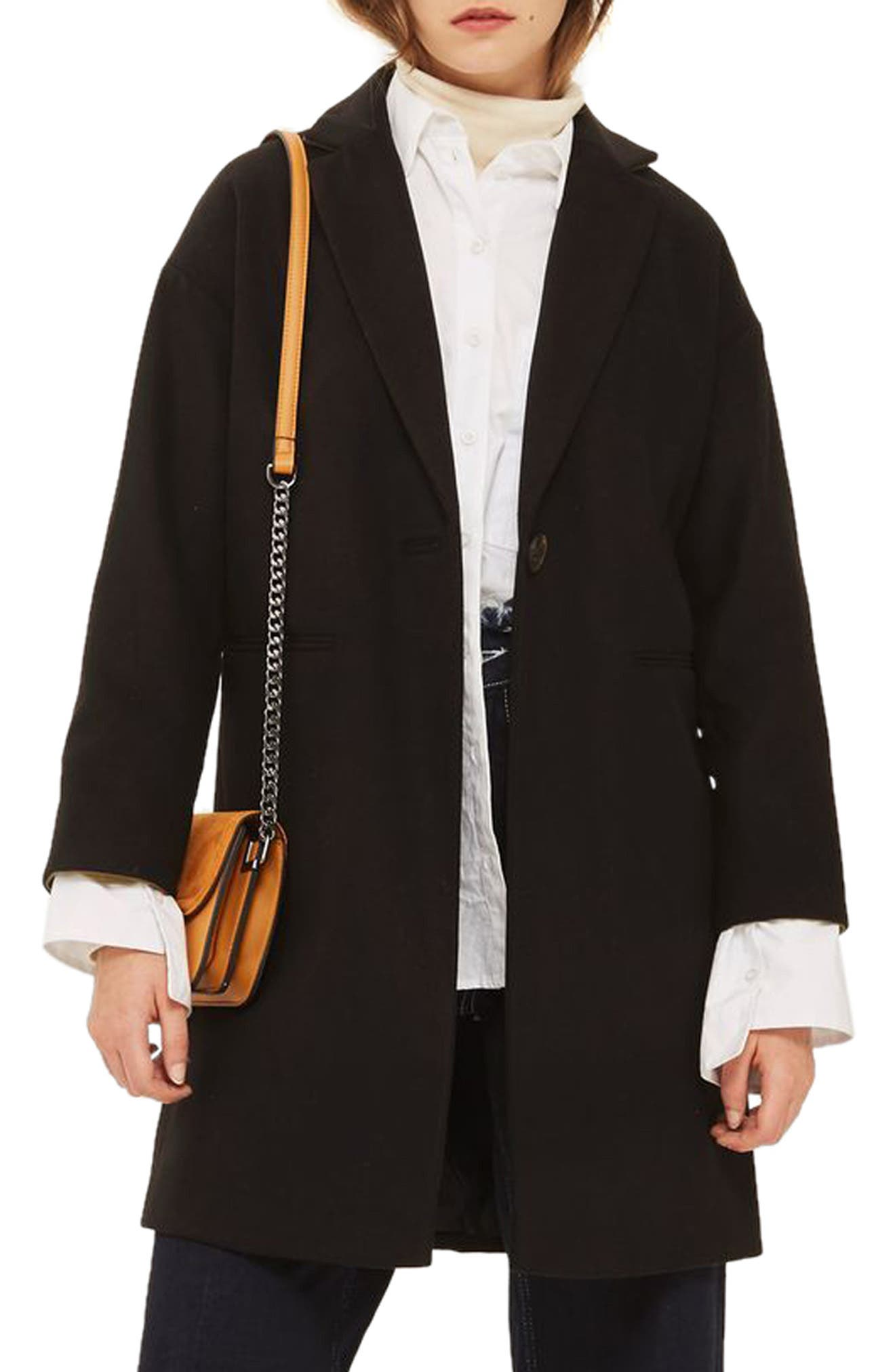Millie Relaxed Fit Coat,                         Main,                         color, Black