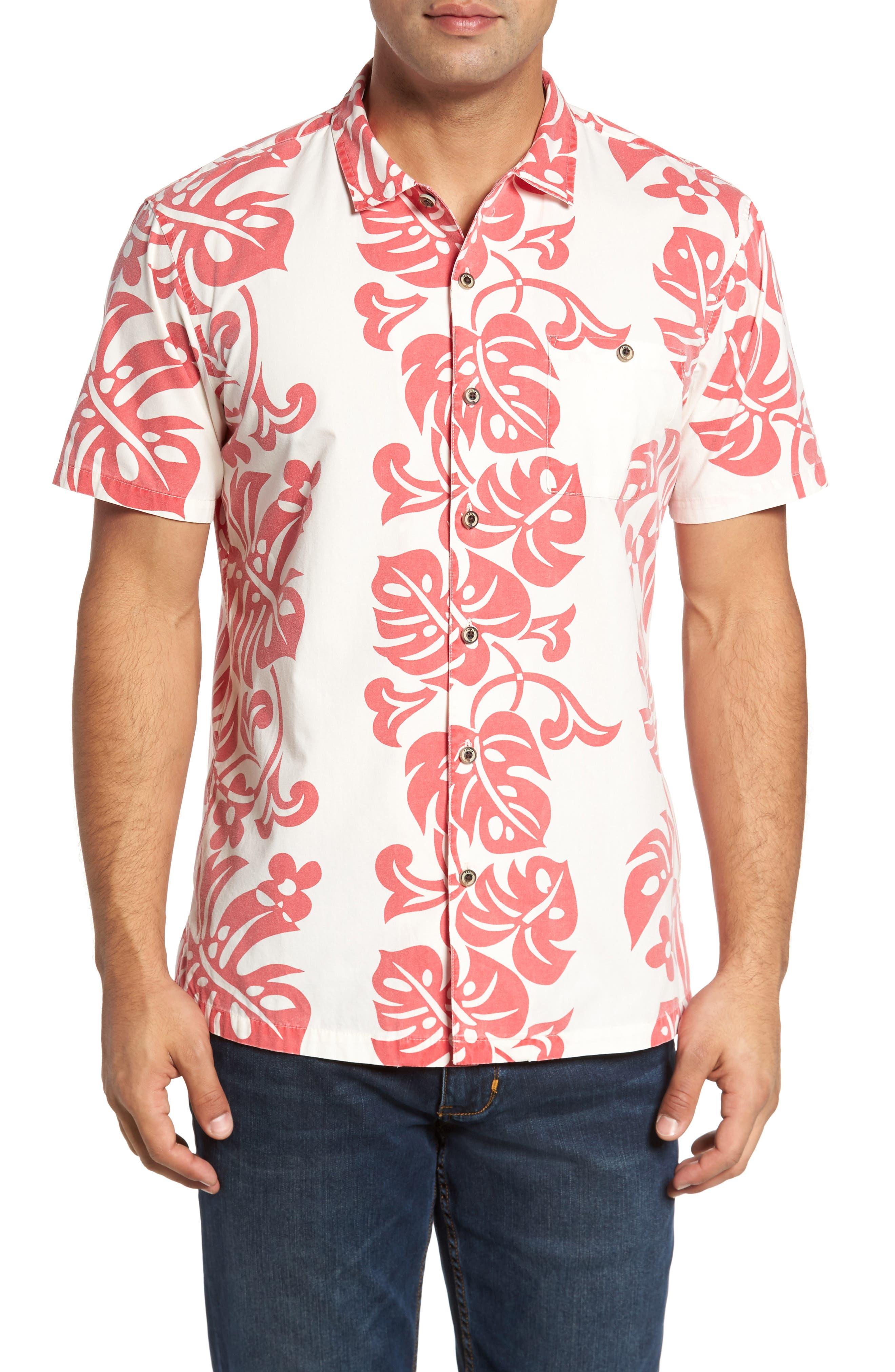 Malama Trim Fit Print Sport Shirt,                         Main,                         color, Natural