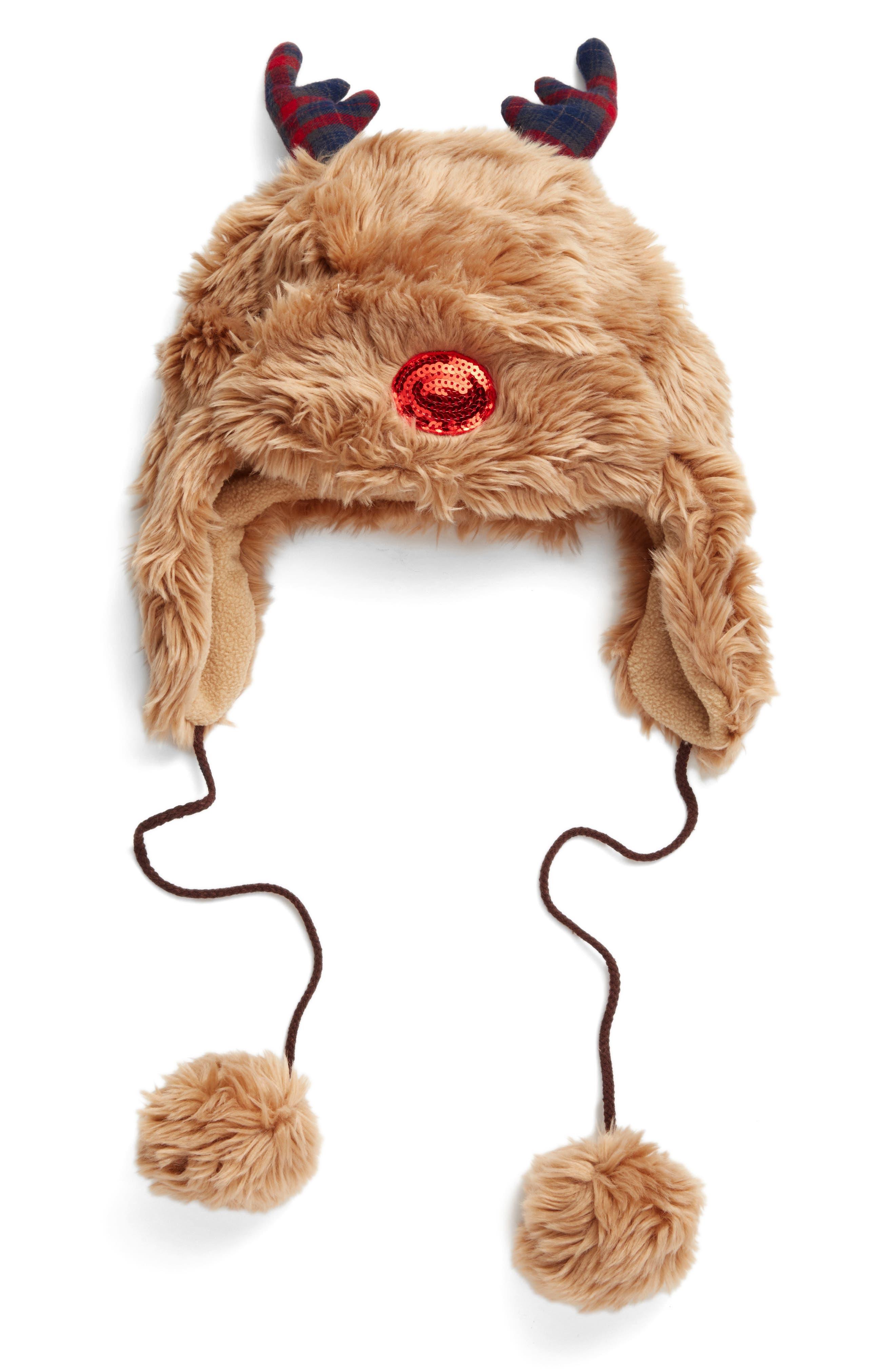 Reindeer Trapper Hat,                         Main,                         color, Brown