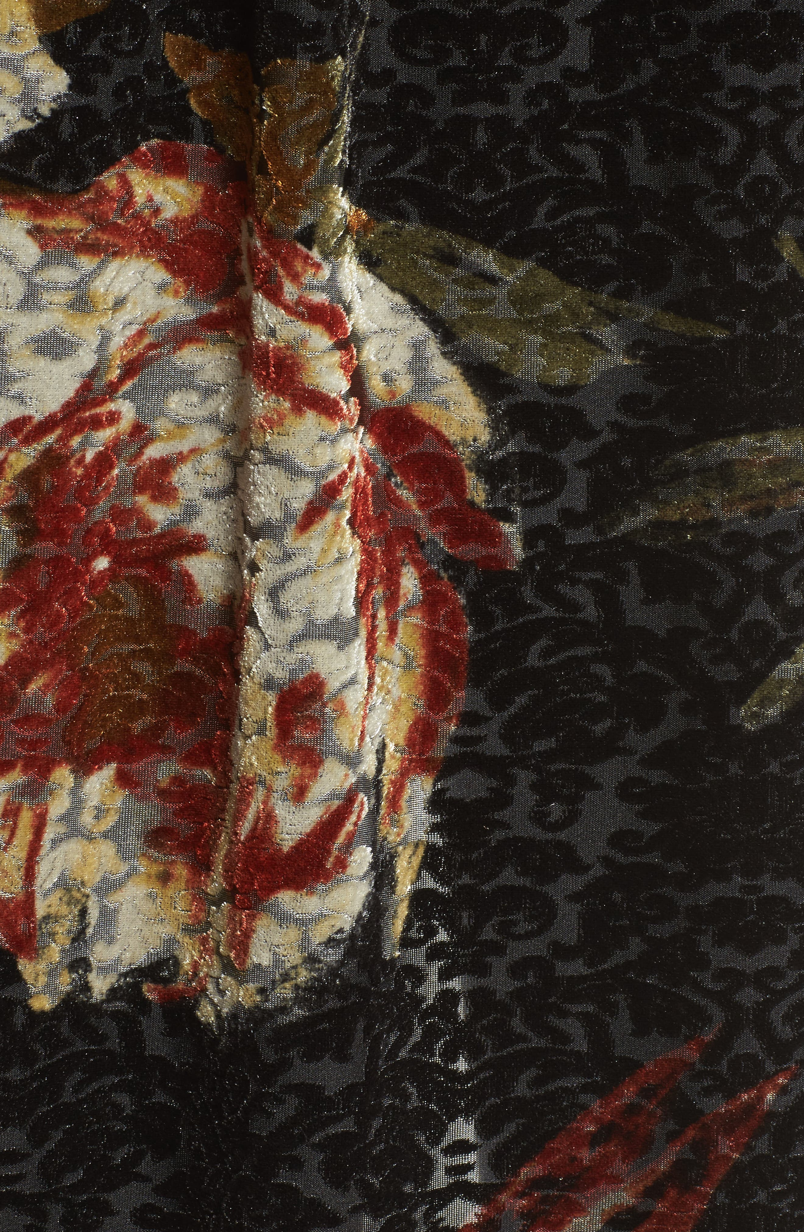 Burnout Floral Kimono,                             Alternate thumbnail 5, color,                             Black Floral