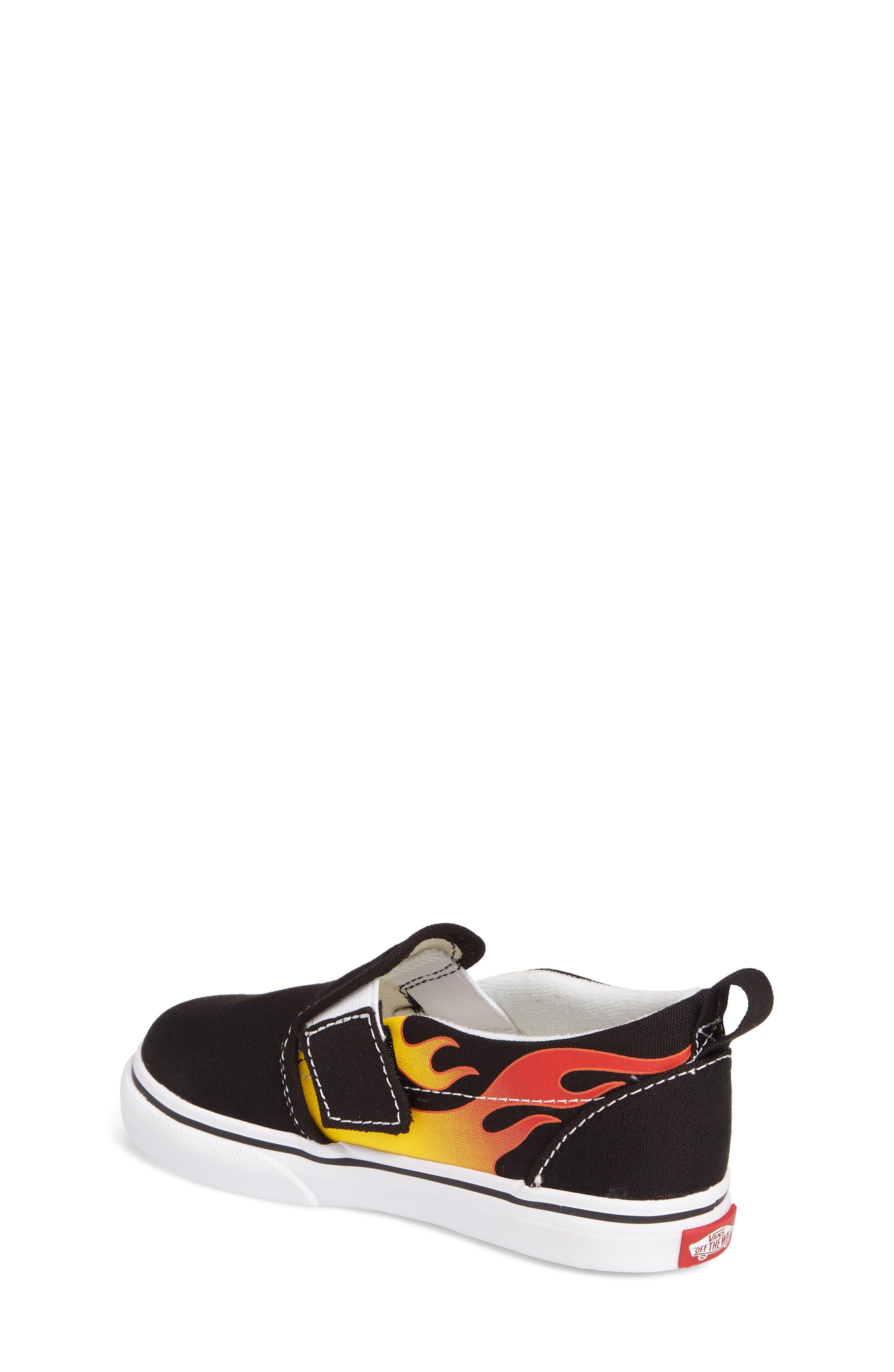 Slip-On V Sneaker,                             Alternate thumbnail 2, color,                             Flame Black/ True White