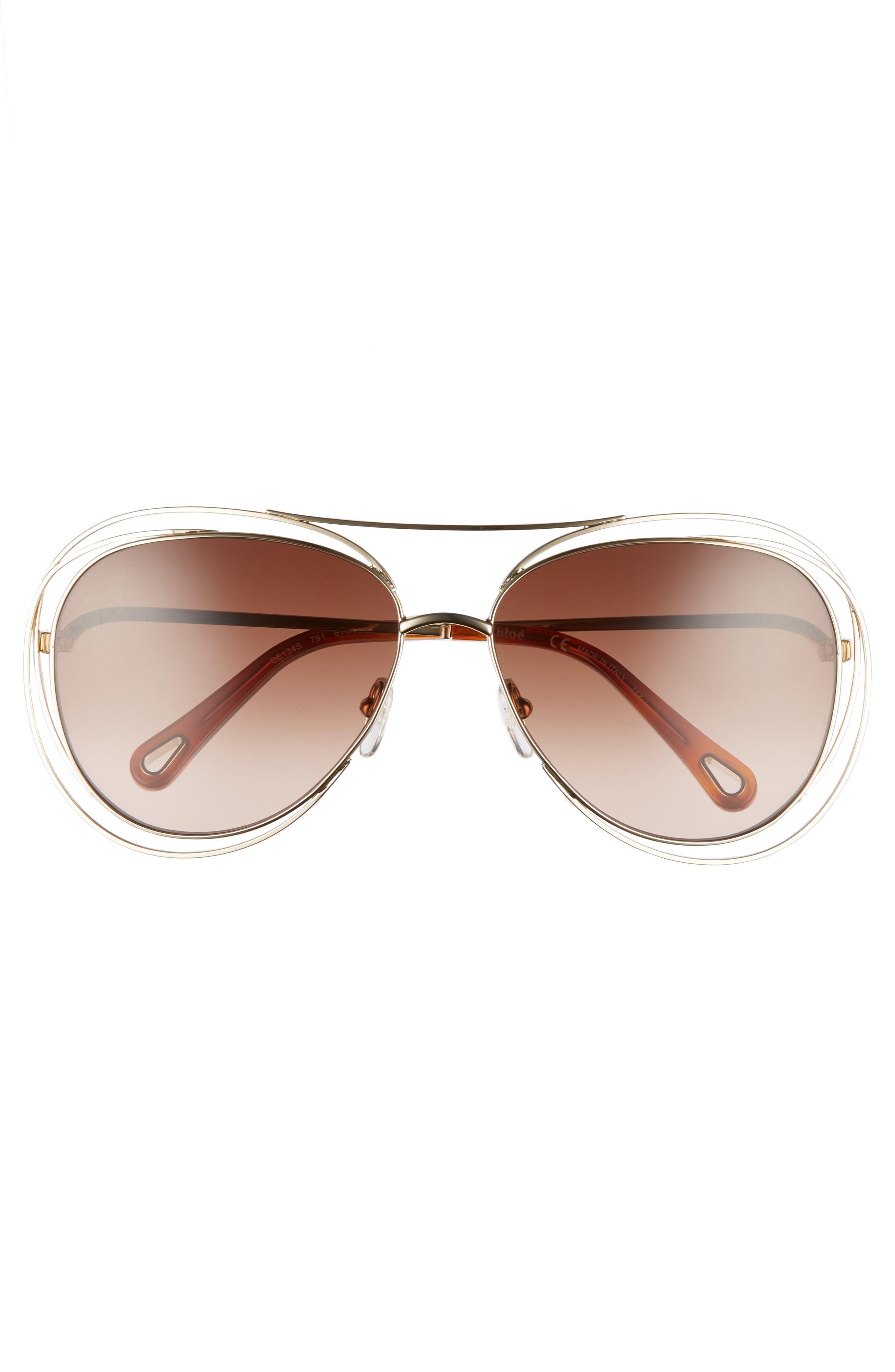 61mm Aviator Sunglasses,                             Alternate thumbnail 3, color,                             Gold/ Havana