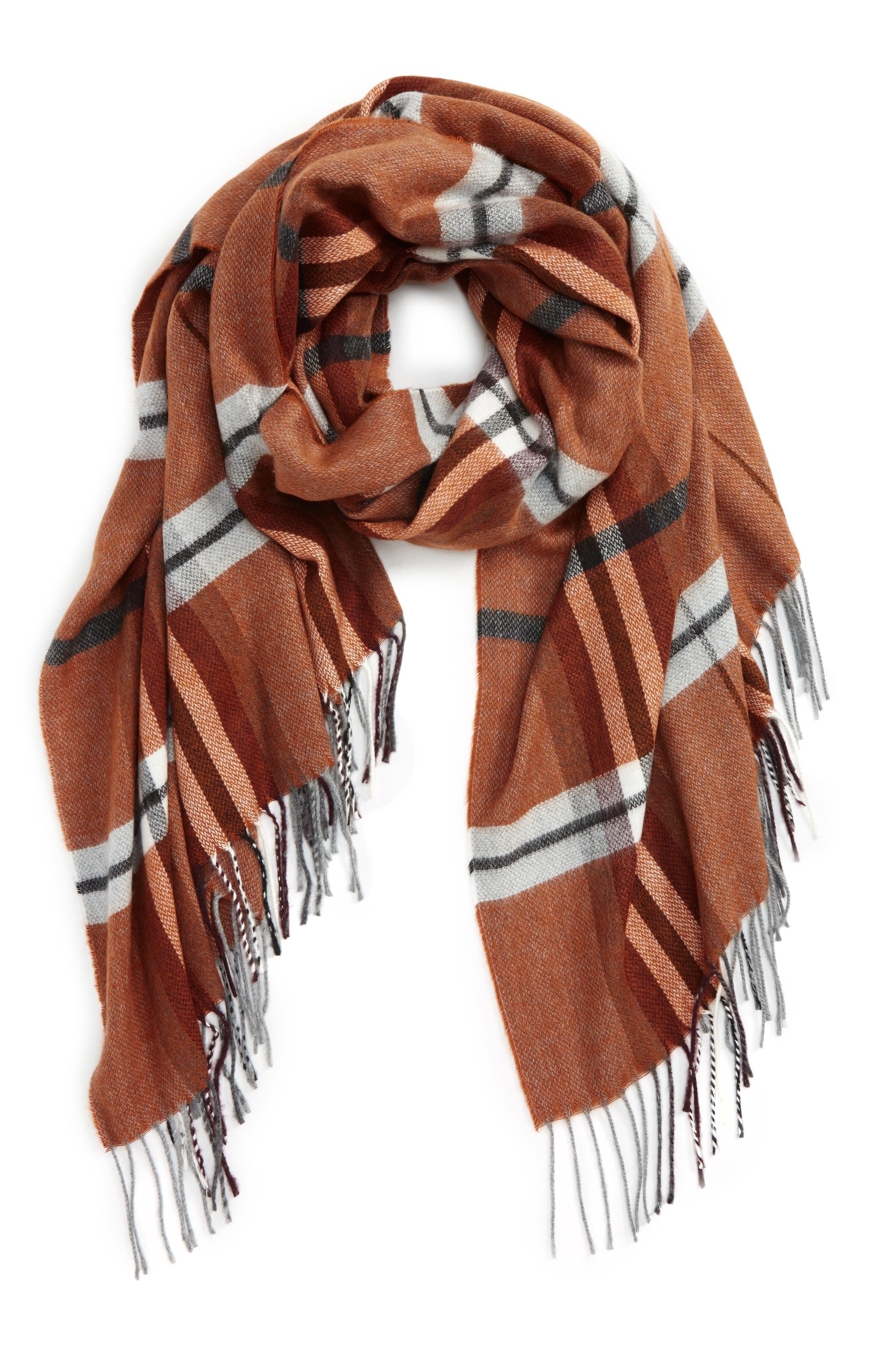 Plaid Blanket Scarf,                         Main,                         color, Brown Multi