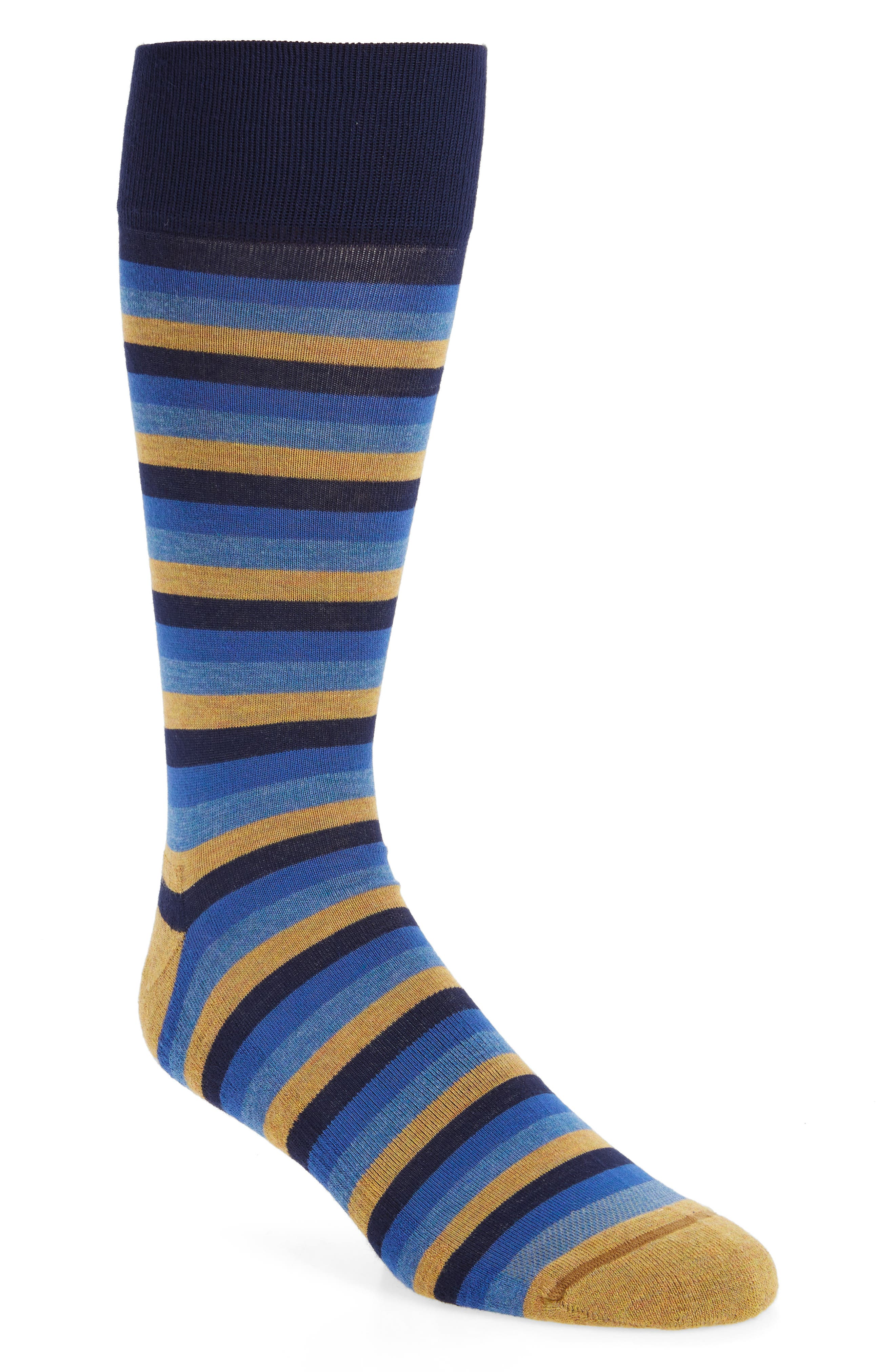 Stripe Socks,                         Main,                         color, Navy