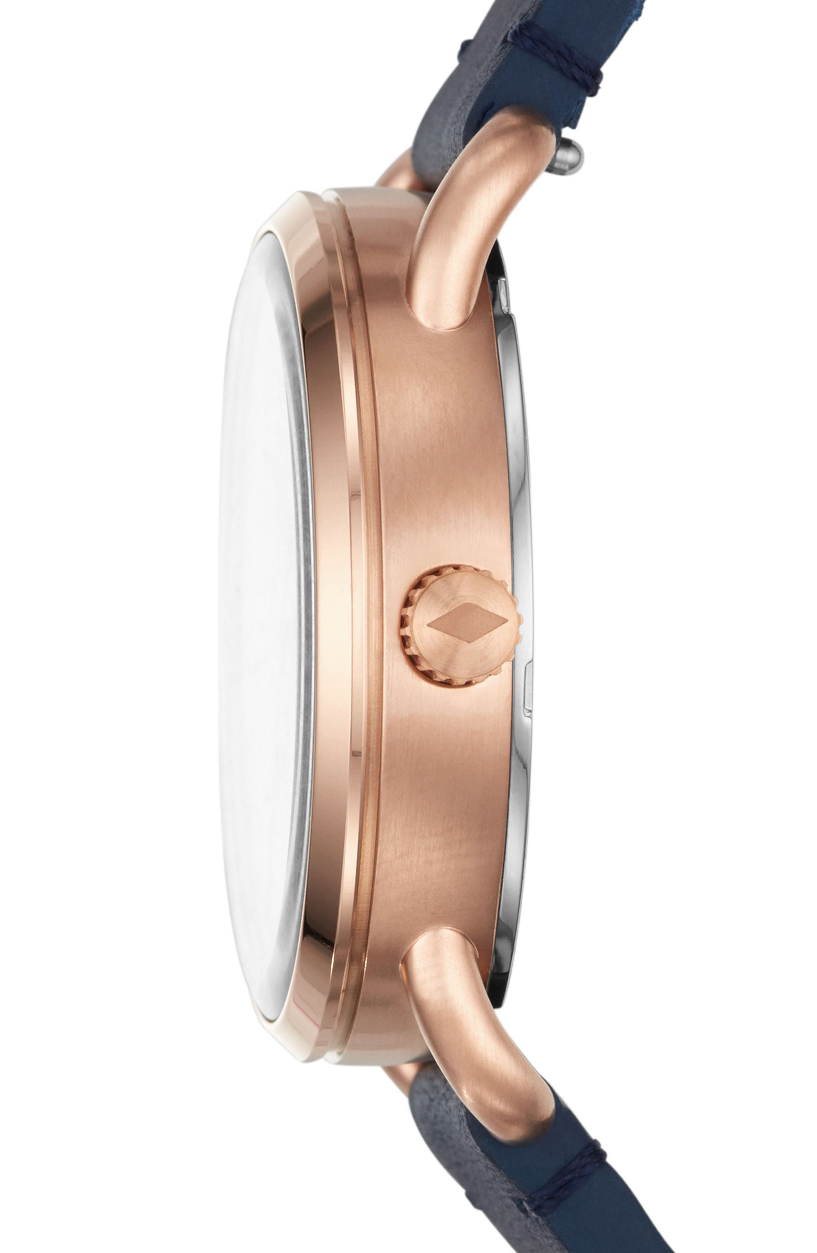 Commuter Leather Strap Watch, 34mm,                             Alternate thumbnail 2, color,                             Blue/ White/ Rose Gold