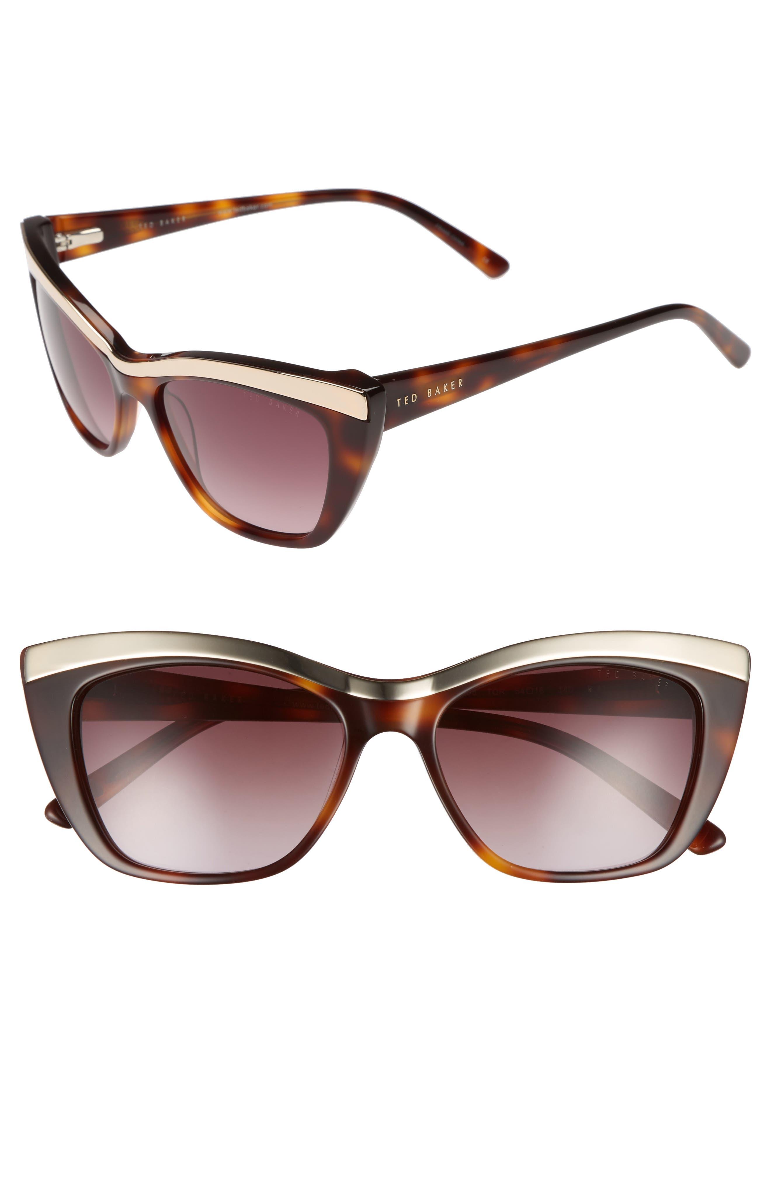 54mm Rectangle Cat Eye Sunglasses,                             Main thumbnail 1, color,                             Tortoise