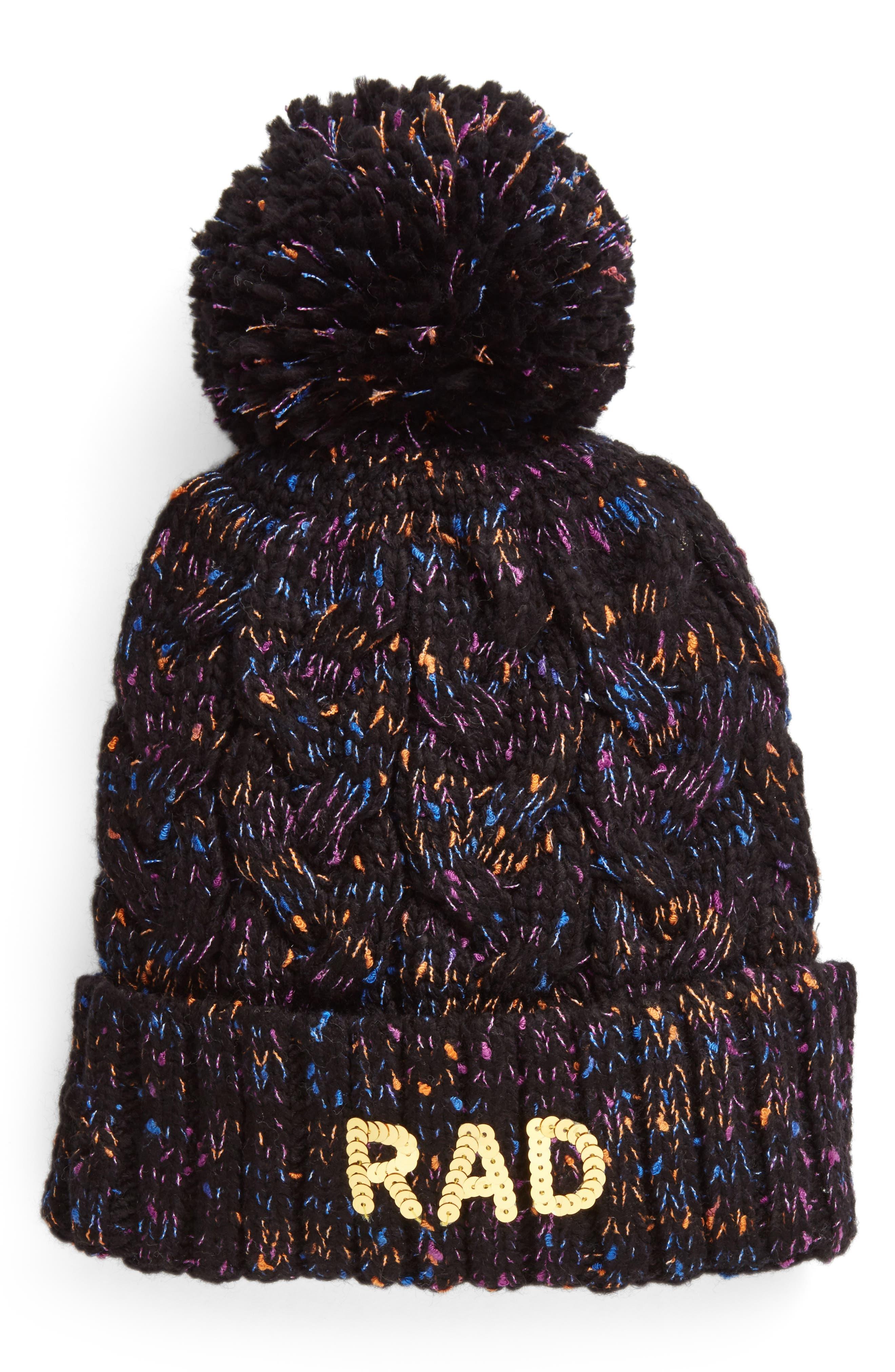 Rad Pompom Beanie,                         Main,                         color, Black