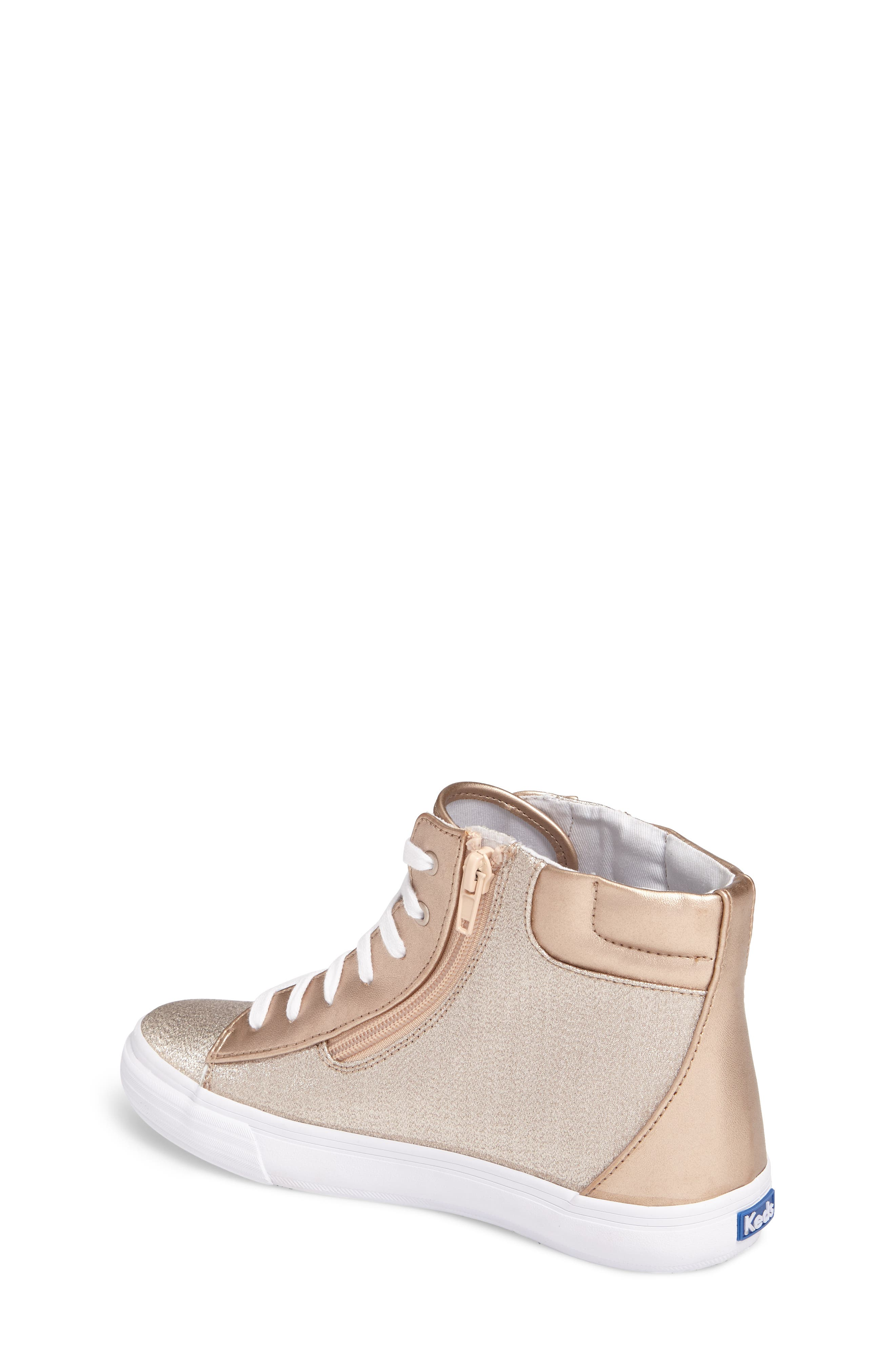 Double Up High Top Sneaker,                             Alternate thumbnail 2, color,                             Rose Gold