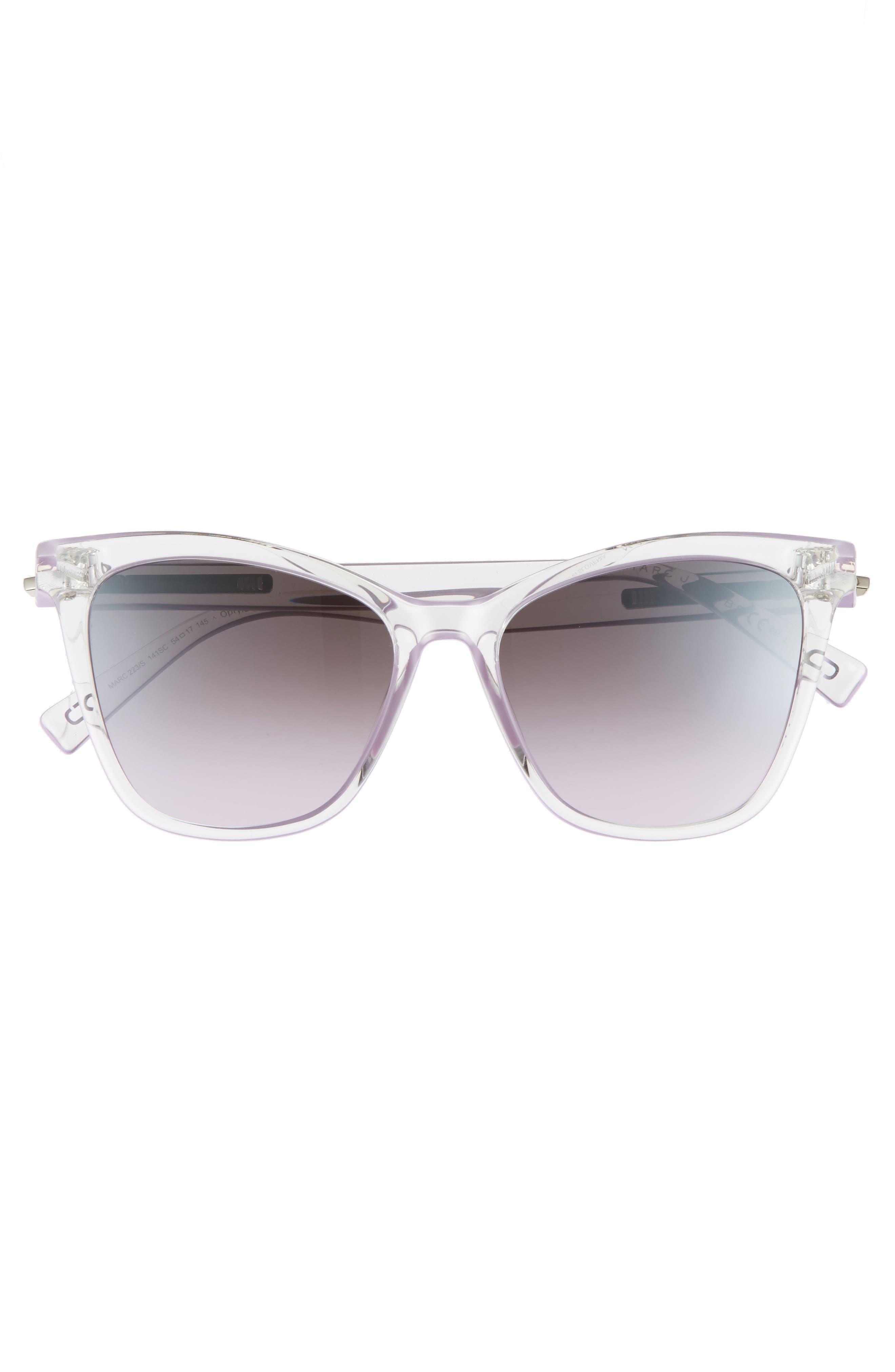 54mm Gradient Lens Sunglasses,                             Alternate thumbnail 3, color,                             Crystal Clear Violet