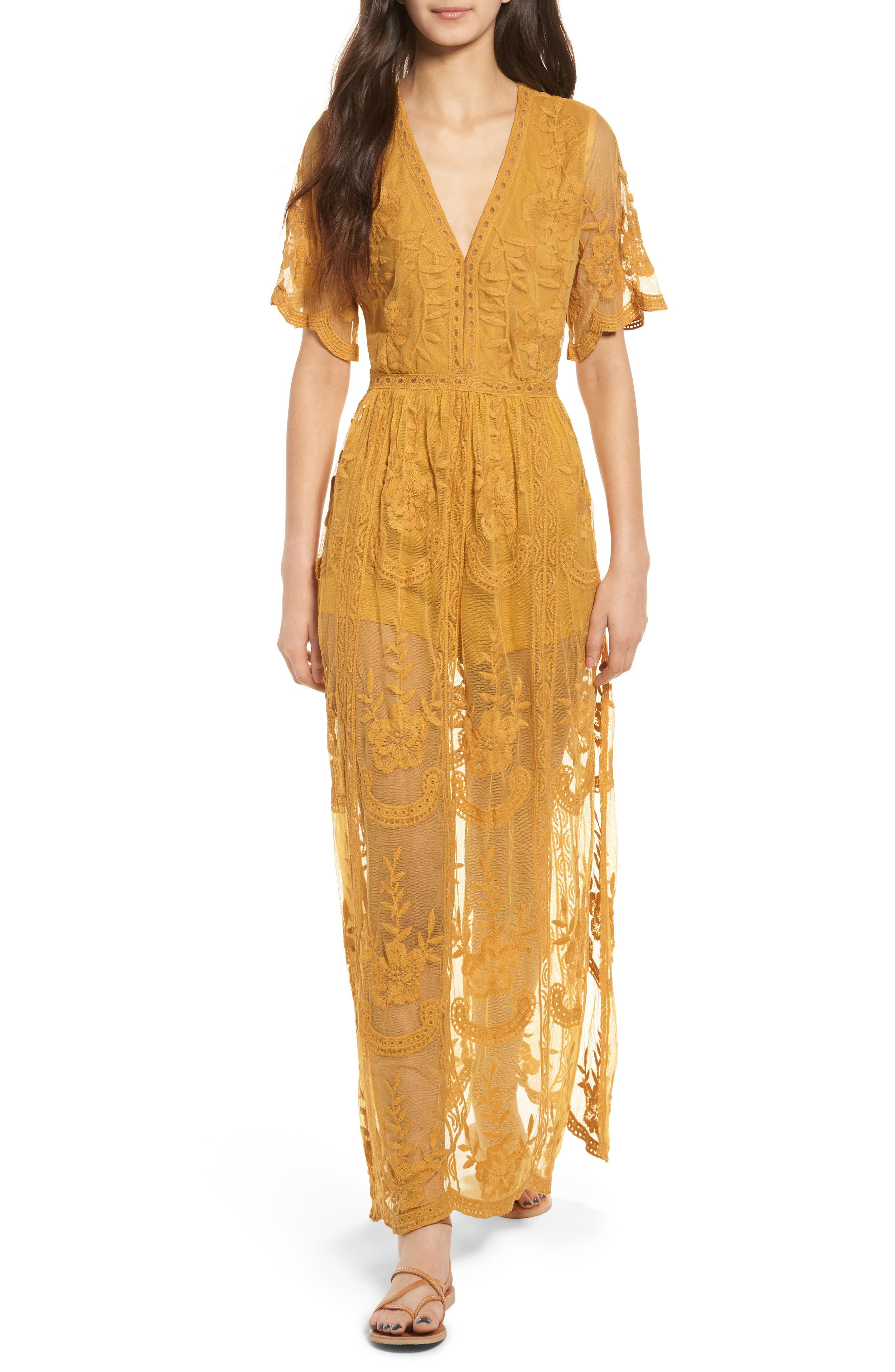 Yellow lace rompers and dresses