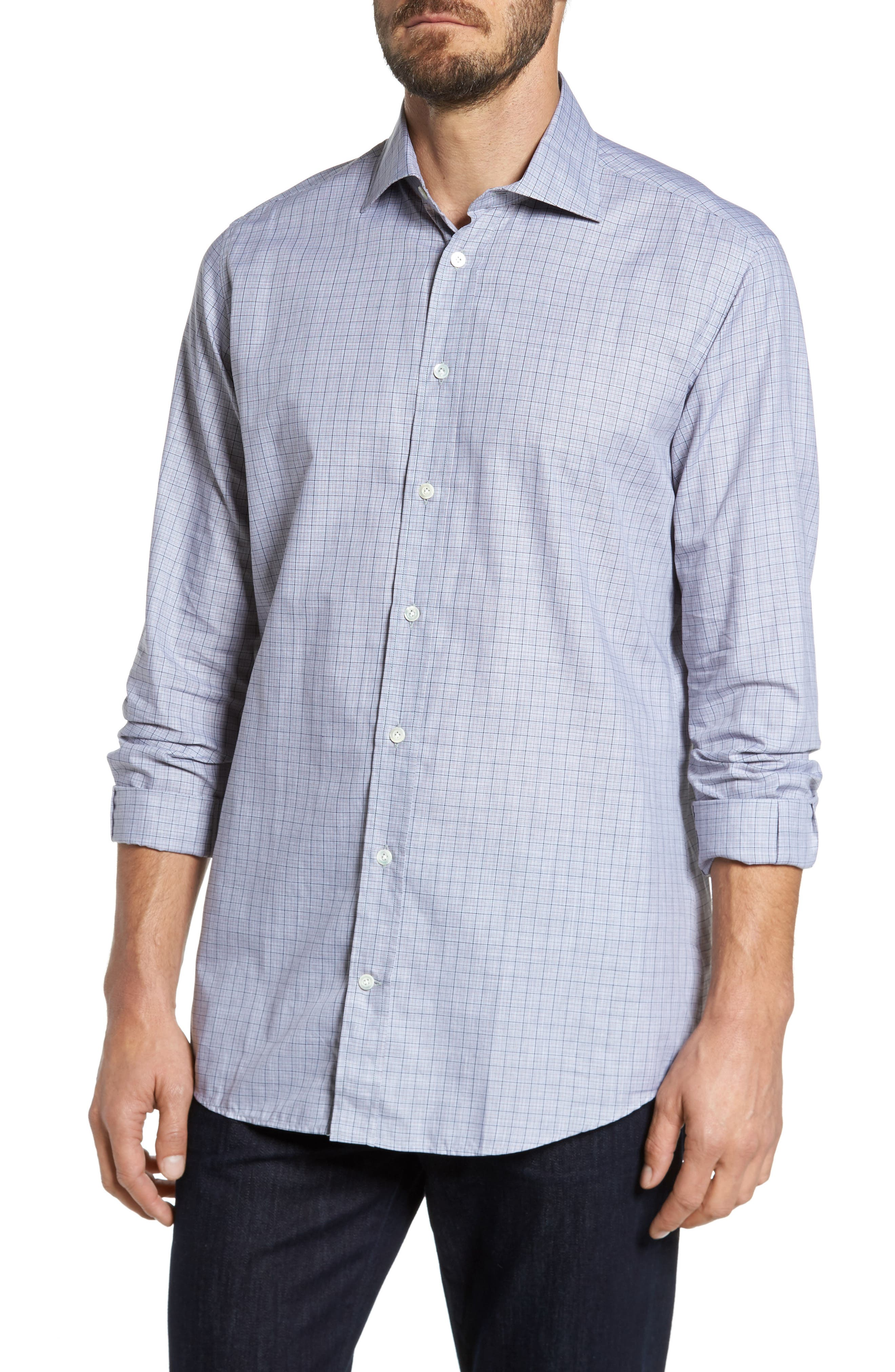 Main Image - Luciano Barbera Classic Fit Plaid Sport Shirt
