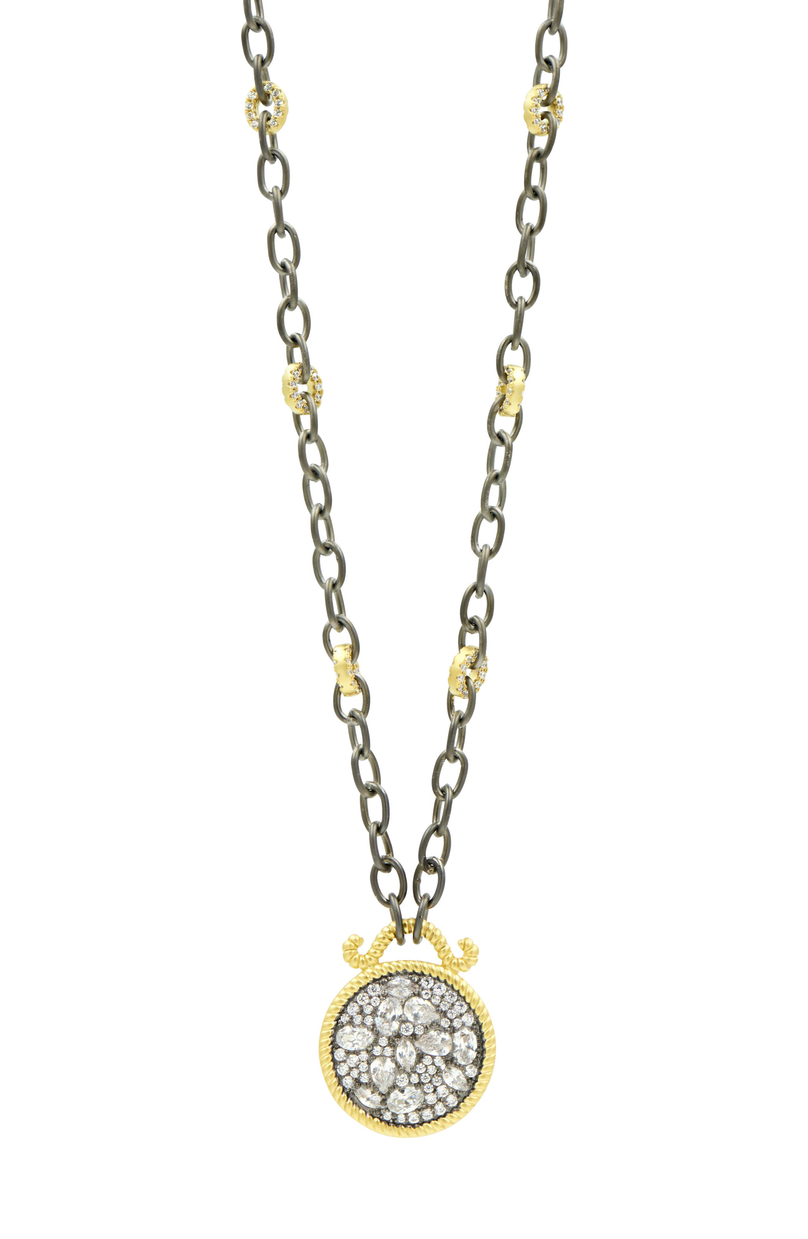 Gilded Cable Reversible Pendant Necklace,                         Main,                         color, Black/ Gold