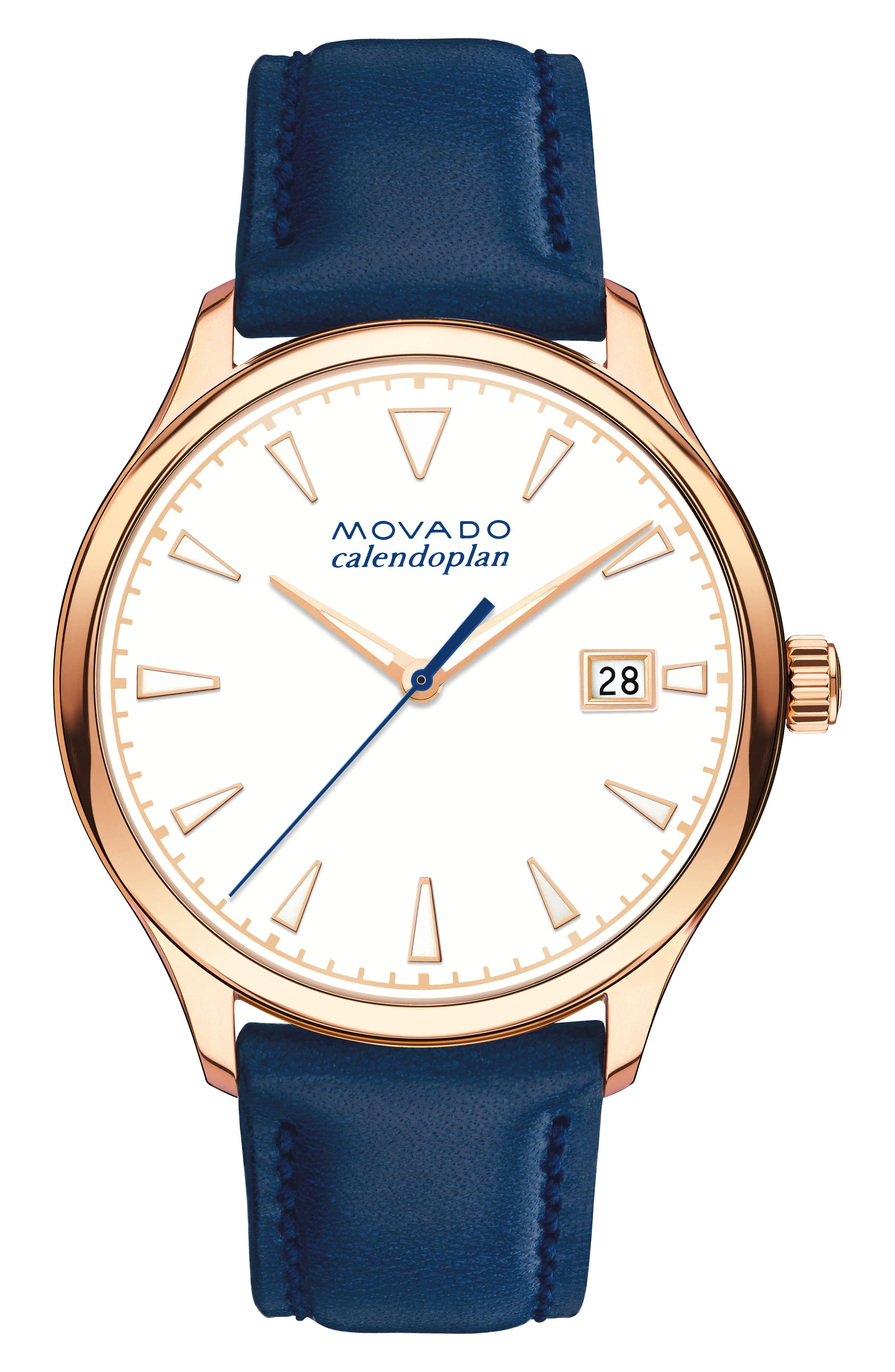 Alternate Image 1 Selected - Movado Heritage Calendoplan Leather Strap Watch, 36mm