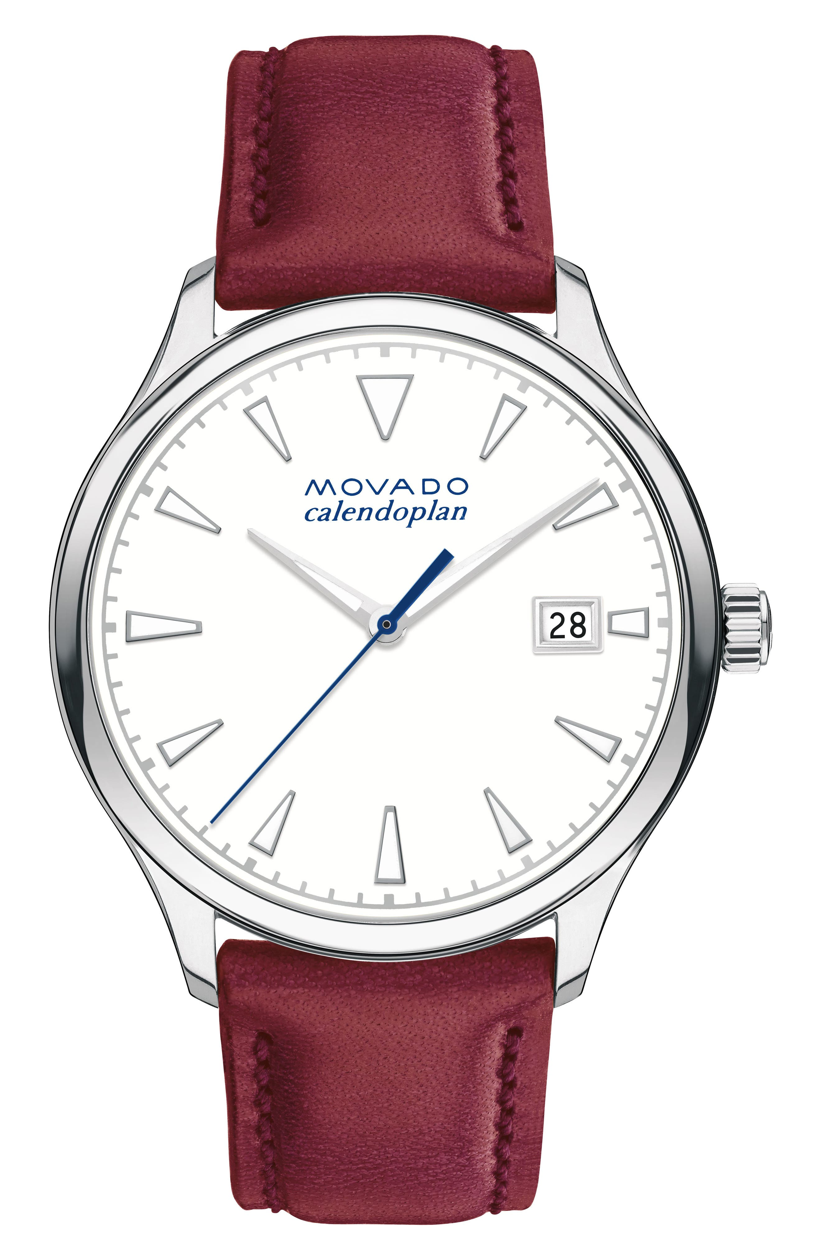 Heritage Calendoplan Leather Strap Watch, 36mm,                         Main,                         color, Red/ White/ Stainless Steel